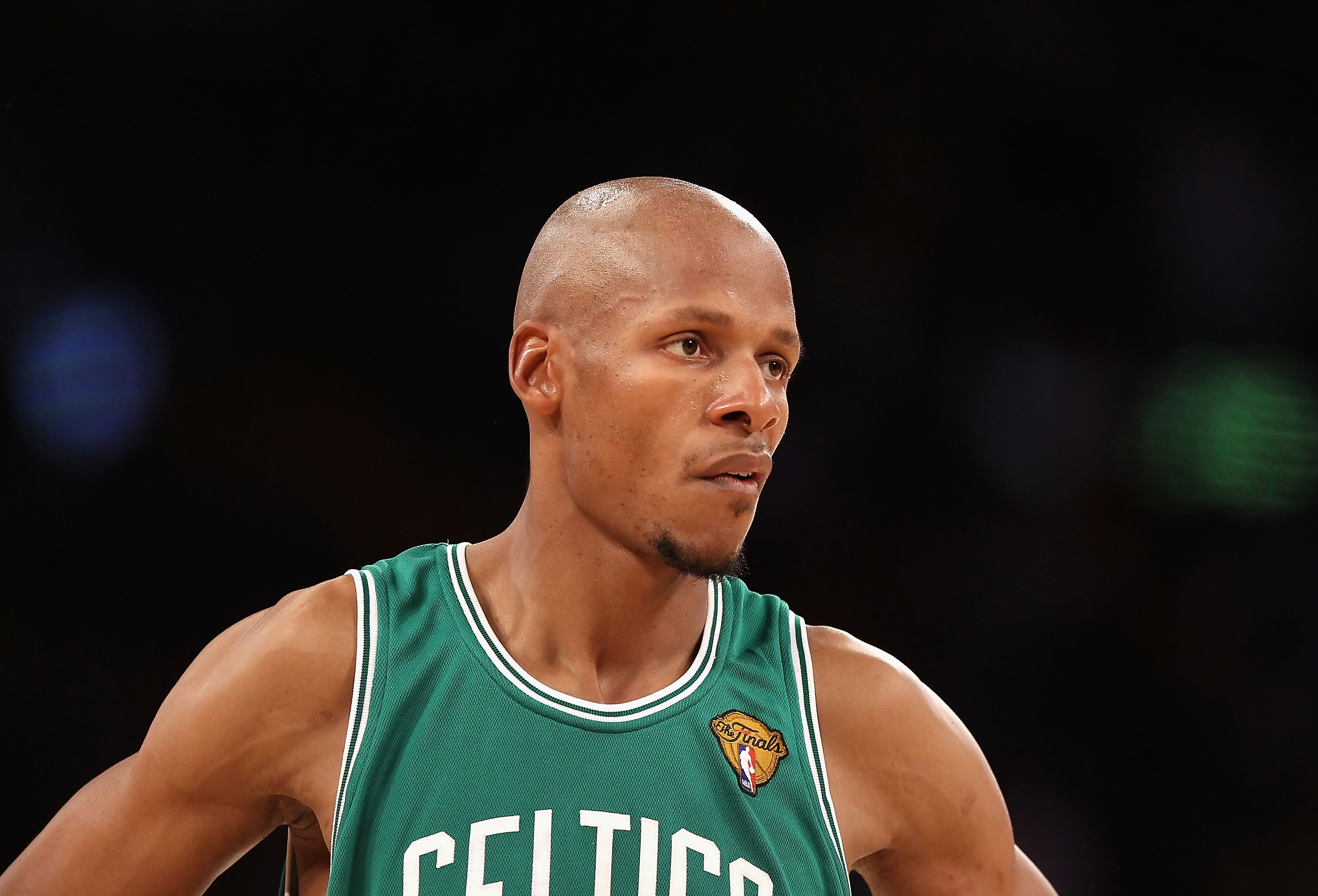 LOS ANGELES, CA - JUNE 17:  Ray Allen #20 of the Boston Celtics in Game Seven of the 2010 NBA Finals gainst the Los Angeles Lakers at Staples Center on June 17, 2010 in Los Angeles, California.  NOTE TO USER: User expressly acknowledges and agrees that, b