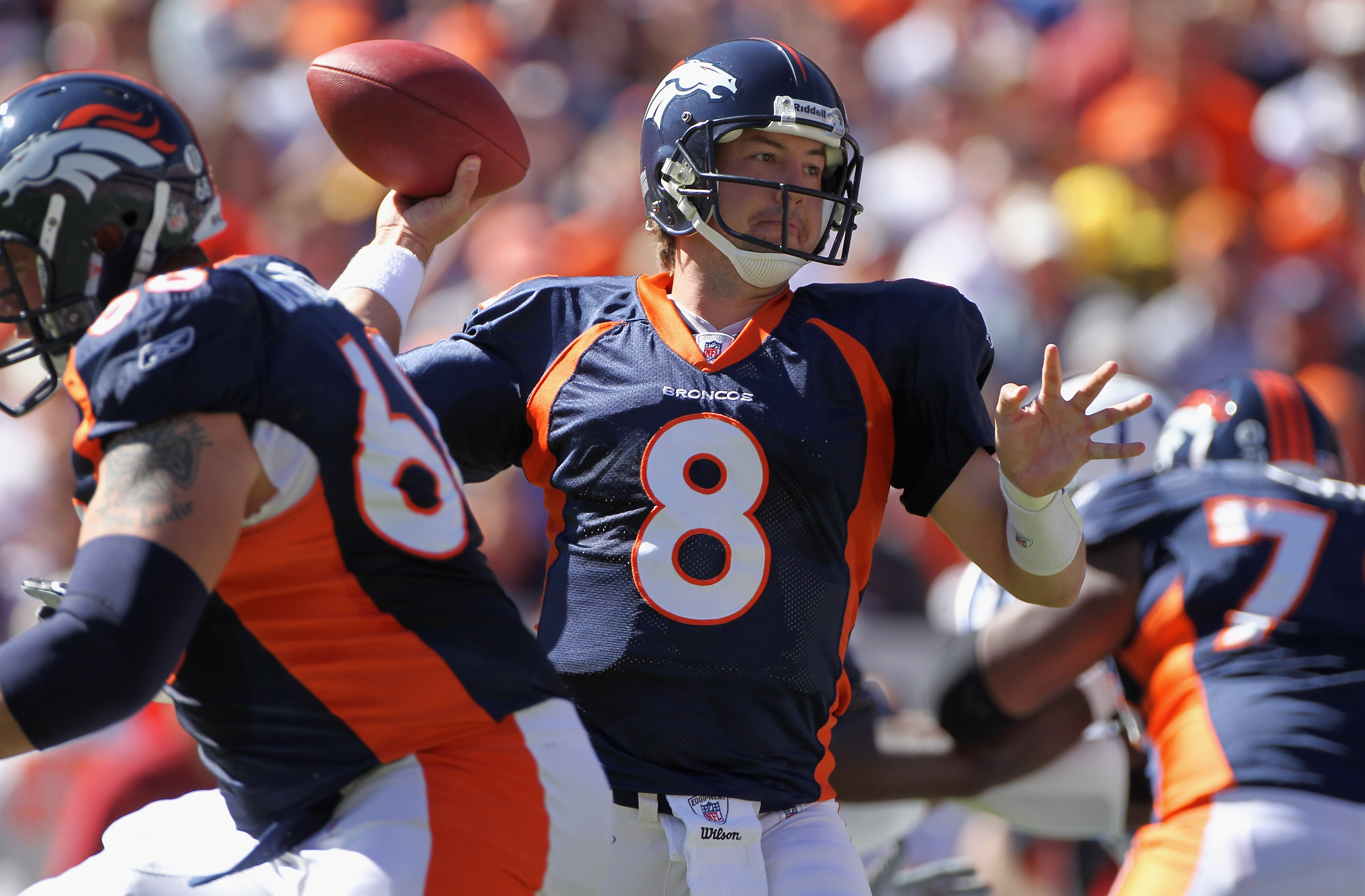 DENVER - SEPTEMBER 26:  Quarterback Kyle Orton #8 of the Denver Broncos delivers a pass against the Indianapolis Colts at INVESCO Field at Mile High on September 26, 2010 in Denver, Colorado.  (Photo by Doug Pensinger/Getty Images)