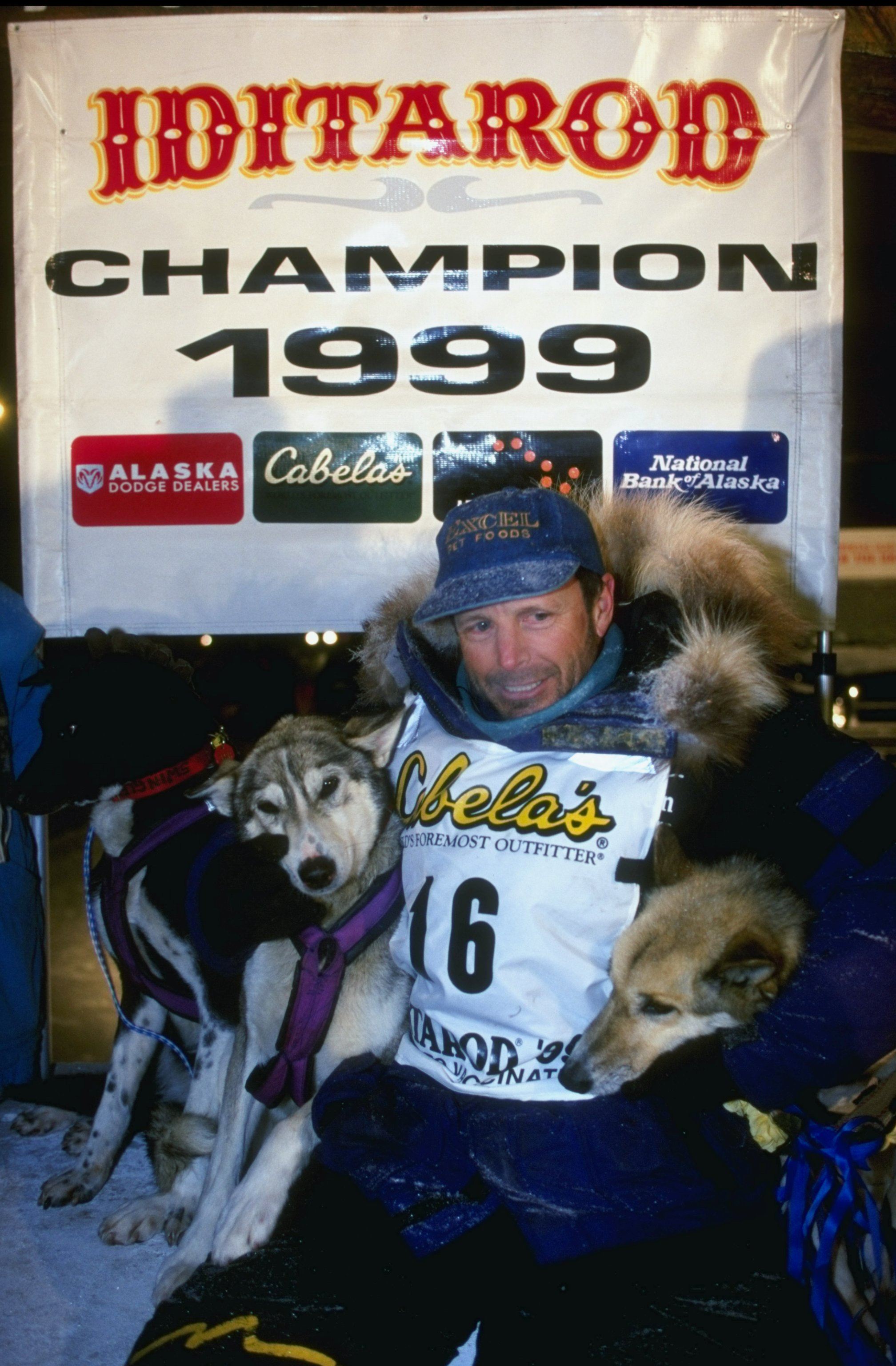 16Mar 1999: Doug Swingley reaches the finish line in Nome during the Iditarod Trail Race in Nome, Alaska. Mandatory Credit: Ezra O. Shaw  /Allsport