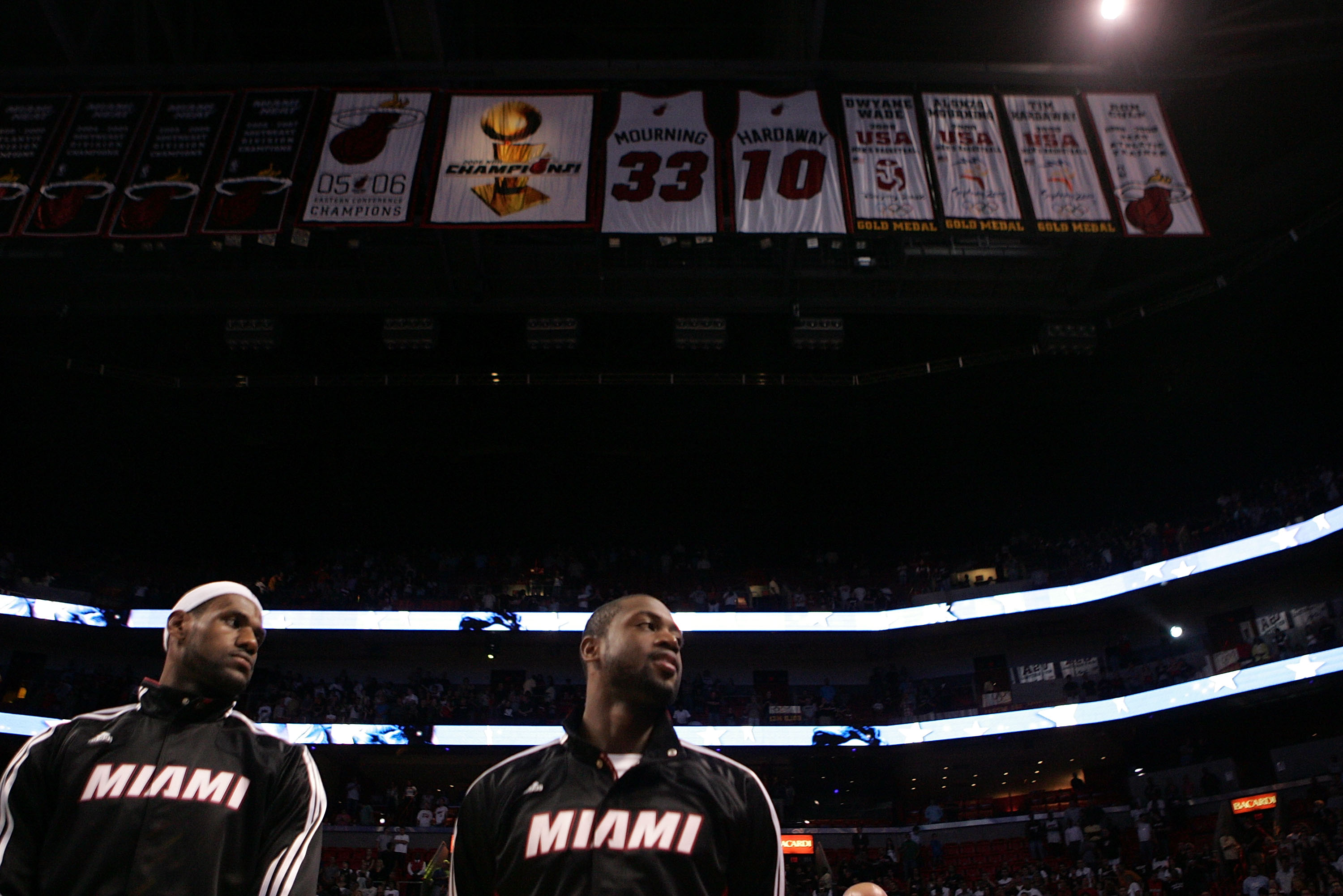 MIAMI - OCTOBER 12:  Forward LeBron James #6 and Dwyane Wade #3 of the Miami Heat prior to playing CSKA Moskow on October 12, 2010 in Miami, Florida.  NOTE TO USER: User expressly acknowledges and agrees that, by downloading and or using this photograph,