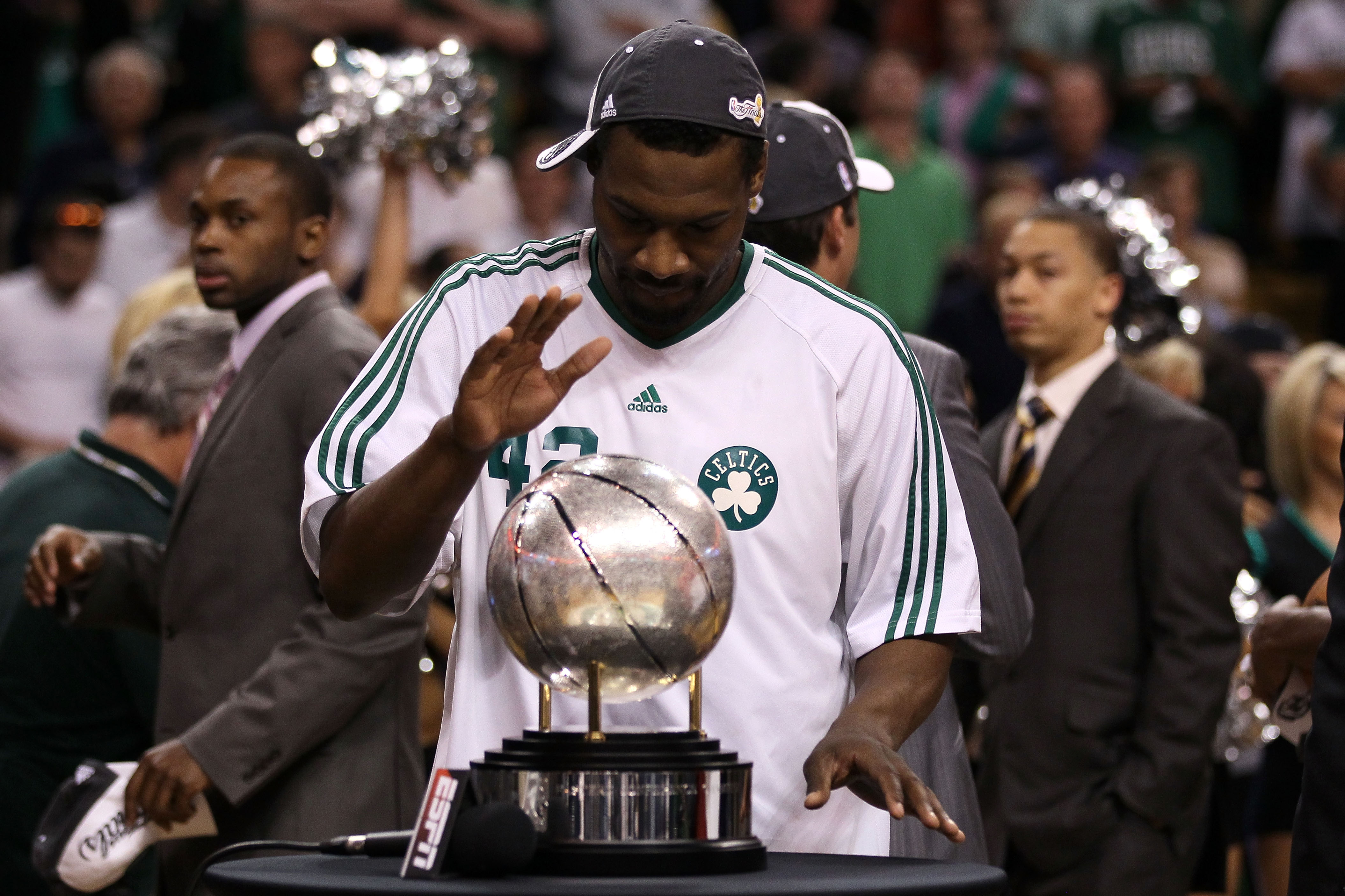 BOSTON - MAY 28:  Tony Allen #42 of the Boston Celtics celebrates with the Eastern COnference trophy after the Celtics won against the Orlando Magic in Game Six of the Eastern Conference Finals during the 2010 NBA Playoffs at TD Garden on May 28, 2010 in
