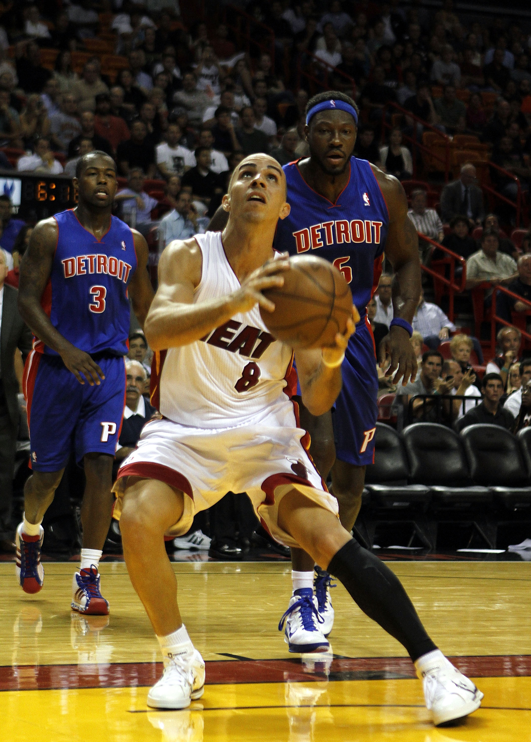 MIAMI - OCTOBER 05:  Guard Carlos Arroyo #8 on the court against the Detroit Pistons on October 5, 2010 in Miami, Florida.  NOTE TO USER: User expressly acknowledges and agrees that, by downloading and or using this photograph, User is consenting to the t