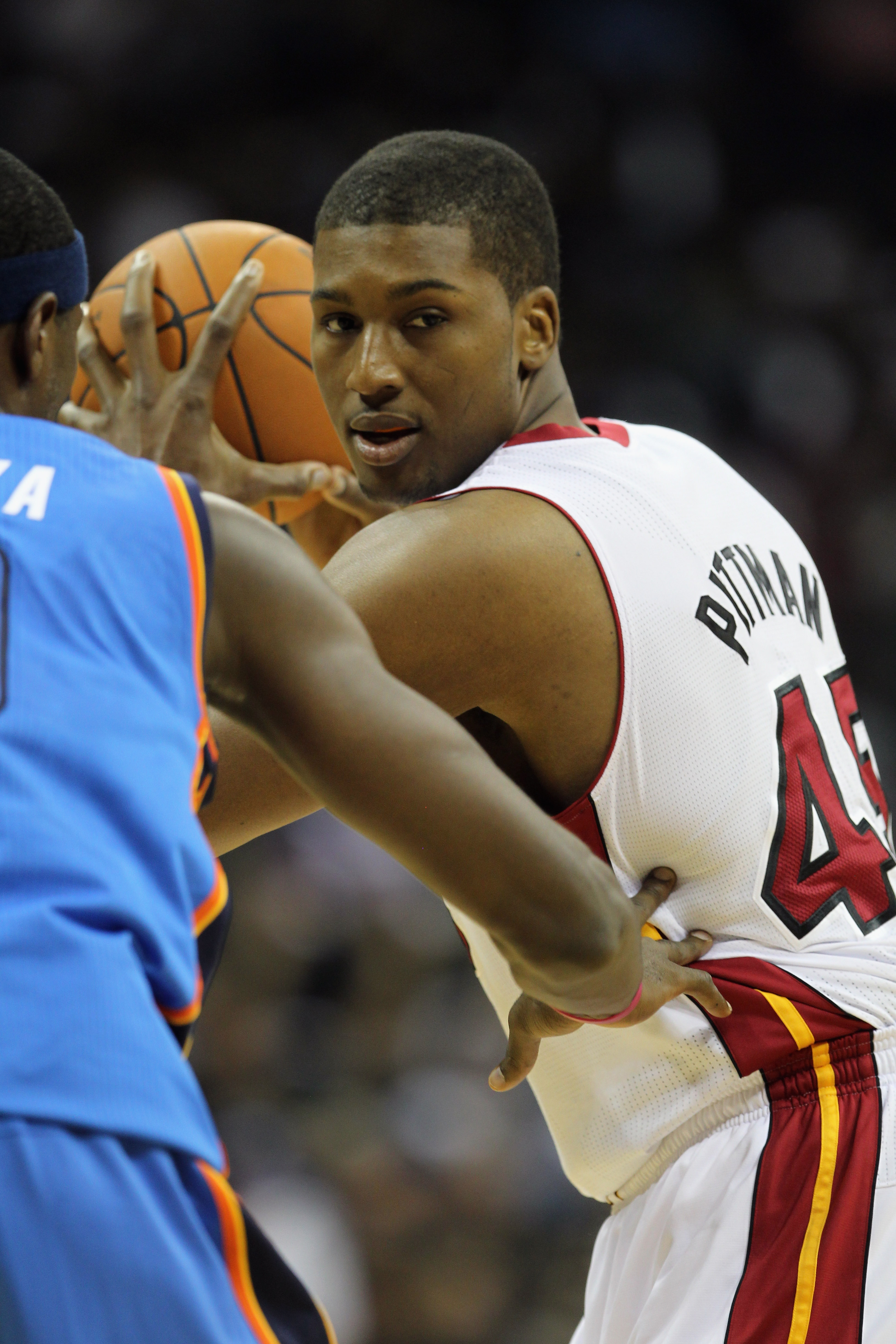 KANSAS CITY, MO - OCTOBER 08:  Dexter Pittman #45 of the Miami Heat in action during the game against the Oklahoma City Thunder on October 8, 2010 at the Sprint Center in Kansas City, Missouri.  (Photo by Jamie Squire/Getty Images)