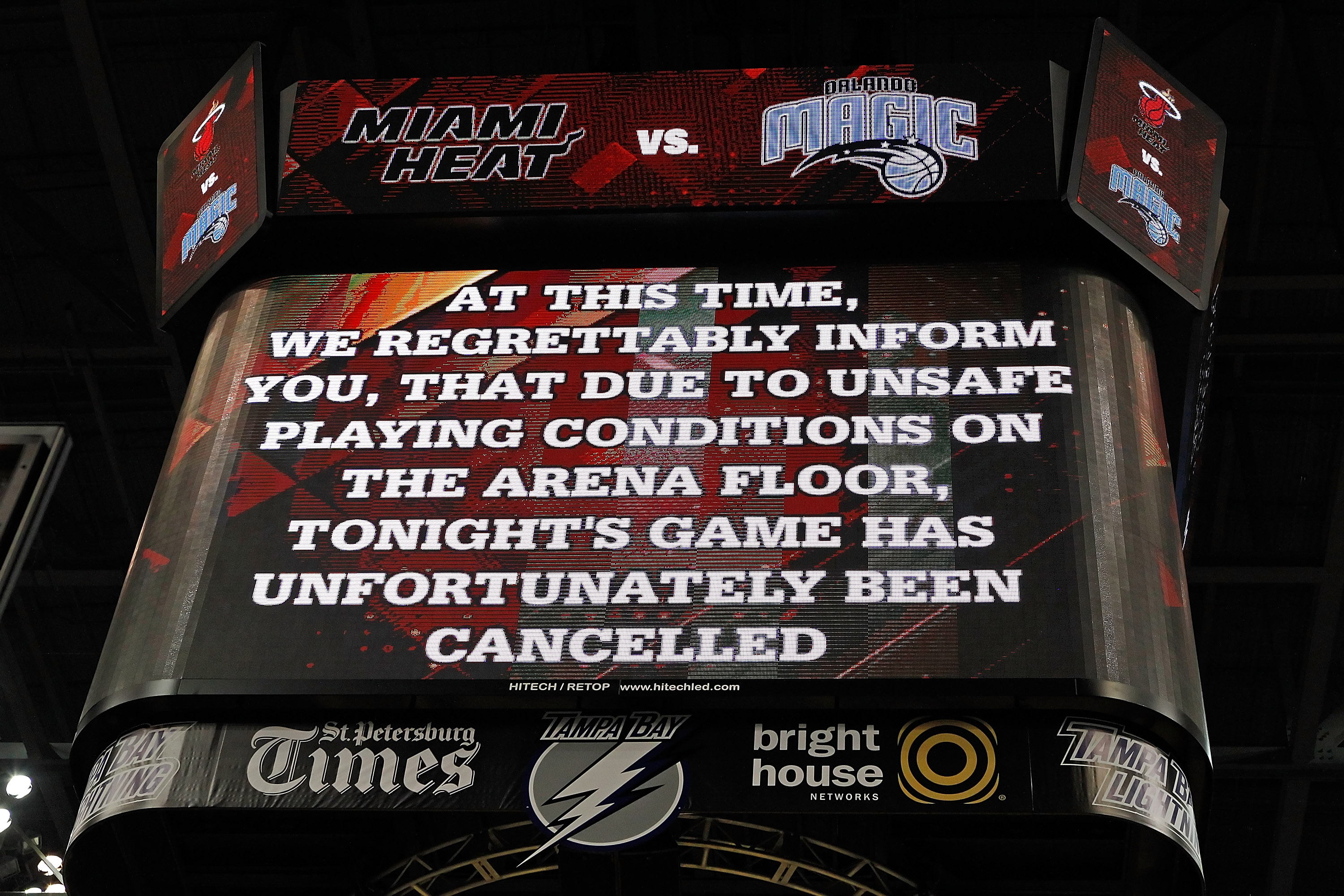 TAMPA, FL - OCTOBER 22:  The scoreboard notifying fans that the game between the Miami Heat and the Orlando Magic was cancelled at the St. Pete Times Forum on October 22, 2010 in Tampa, Florida.  NOTE TO USER: User expressly acknowledges and agrees that,