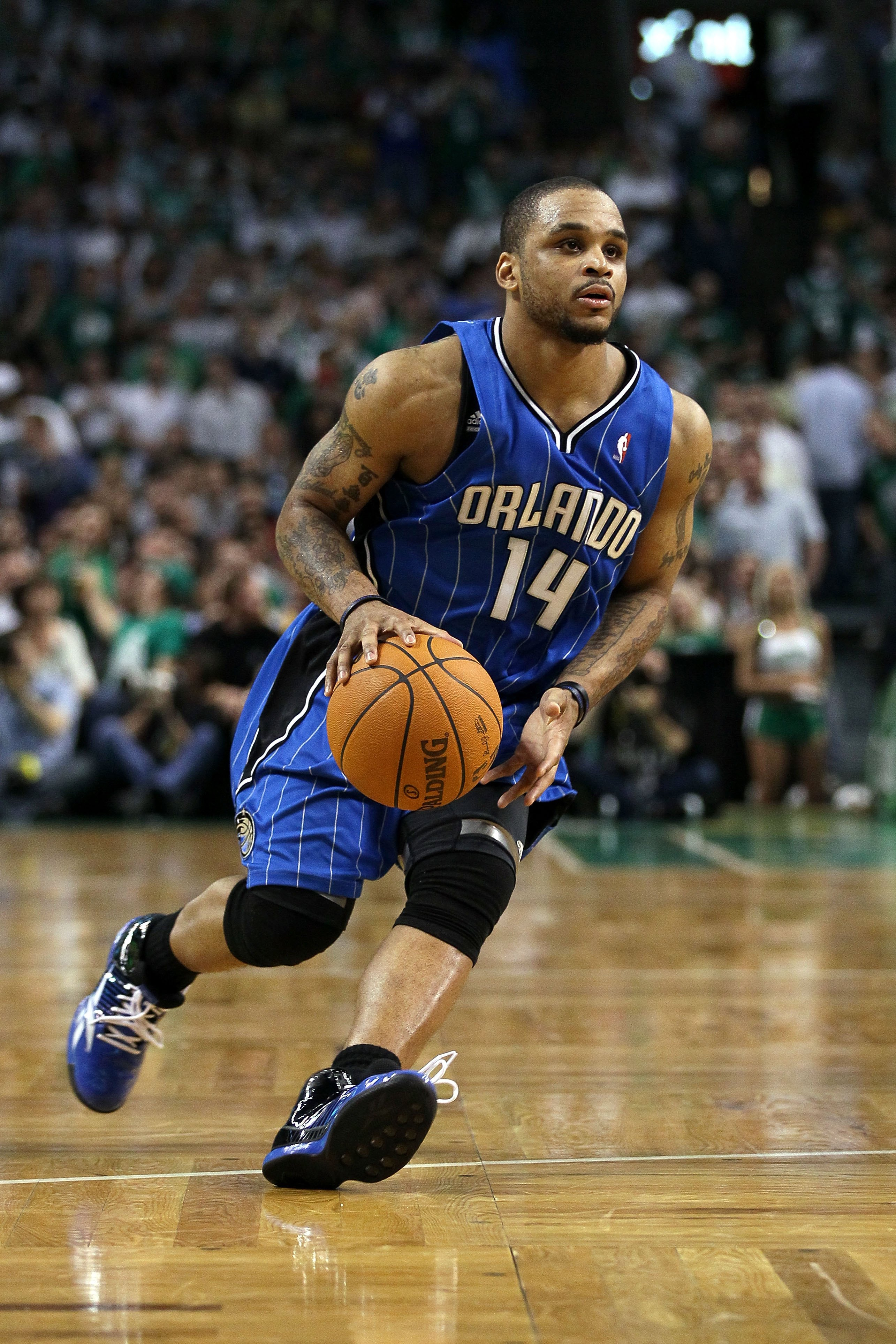 BOSTON - MAY 28:  Jameer Nelson #14 of the Orlando Magic drives against the Boston Celtics in Game Six of the Eastern Conference Finals during the 2010 NBA Playoffs at TD Garden on May 28, 2010 in Boston, Massachusetts.  NOTE TO USER: User expressly ackno