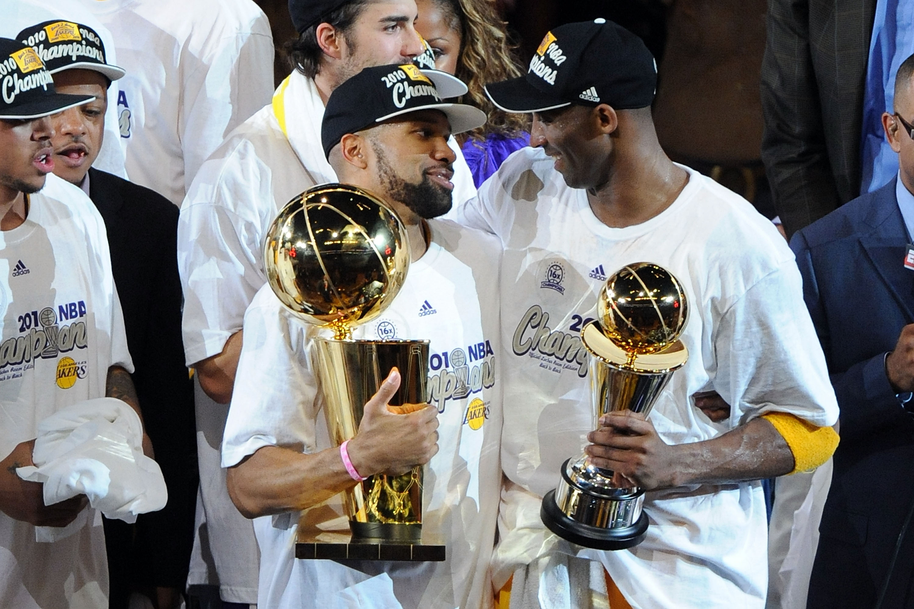 LOS ANGELES, CA - JUNE 17:  Derek Fisher #2 and Kobe Bryant #24 of the Los Angeles Lakers celebrate after the Lakers defeated the Boston Celtics 83-79 in Game Seven of the 2010 NBA Finals at Staples Center on June 17, 2010 in Los Angeles, California.  NOT