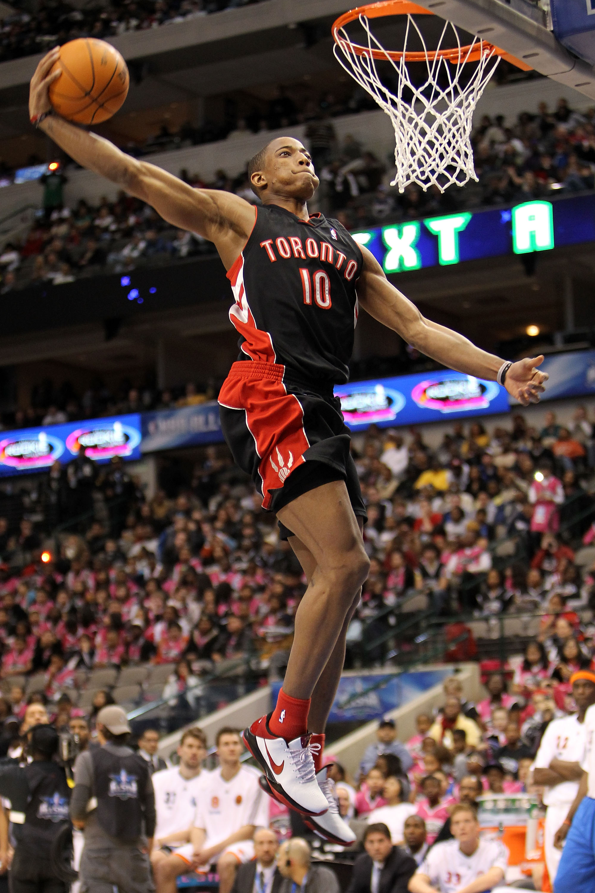 DALLAS - FEBRUARY 12:  DeMar DeRozan #10 of the Toronto Raptors shoots during the slam dunk contest at held at halftime during the T-Mobile Rookie Challenge & Youth Jam part of 2010 NBA All-Star Weekend at American Airlines Center on February 12, 2010 in