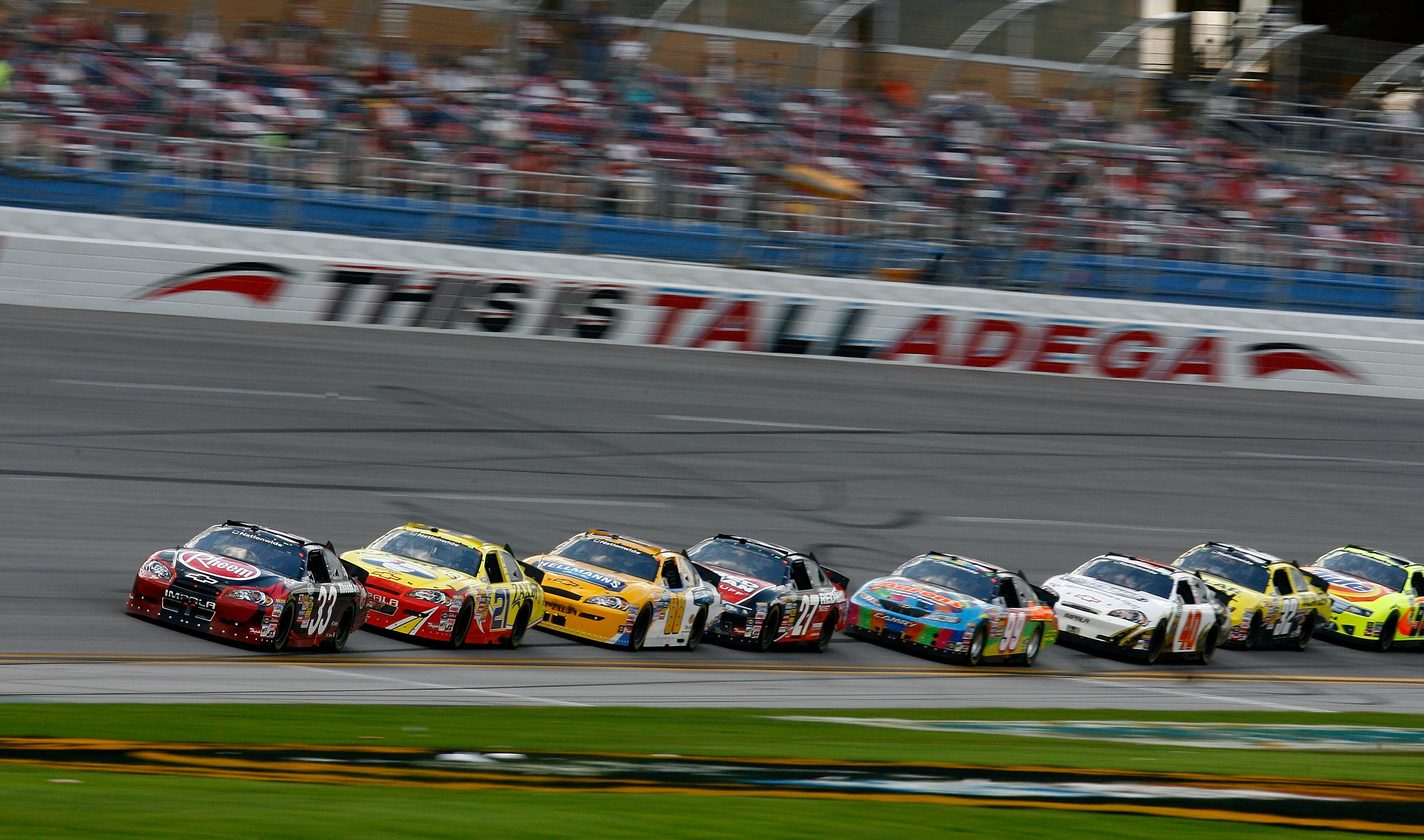 TALLADEGA, AL - APRIL 25:  Kevin Harvick, driver of the #33 Rheem Chevrolet, leads the field during the NASCAR Nationwide Series Aaron's 312 at Talladega Superspeedway on April 25, 2010 in Talladega, Alabama.  (Photo by Jason Smith/Getty Images)