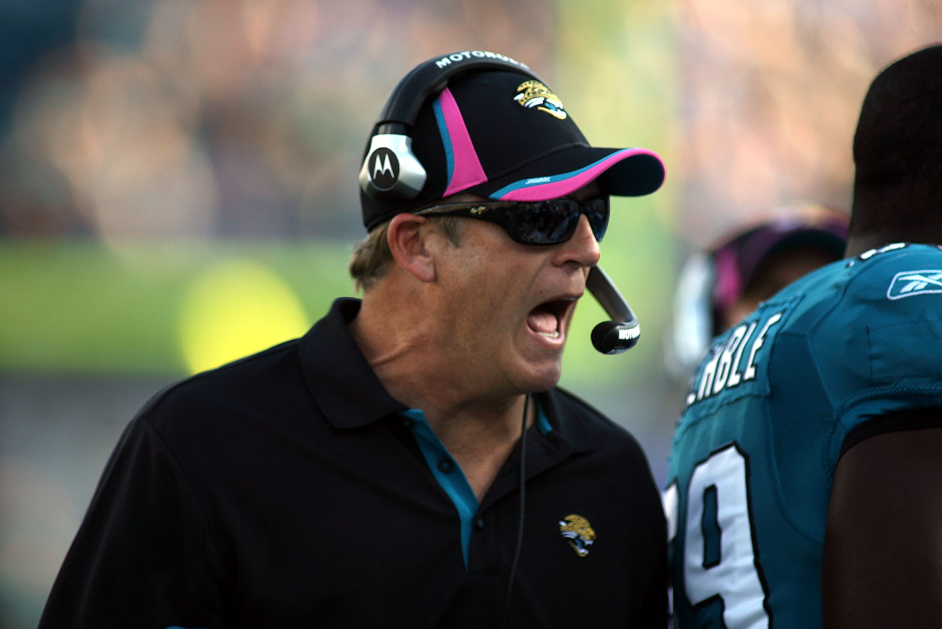 JACKSONVILLE, FL - OCTOBER 03:  Head coach Jack Del Rioof the Jacksonville Jaguars shouts against the Indianapolis Colts at EverBank Field on October 3, 2010 in Jacksonville, Florida. The Jaguars won 31-28.  (Photo by Marc Serota/Getty Images)