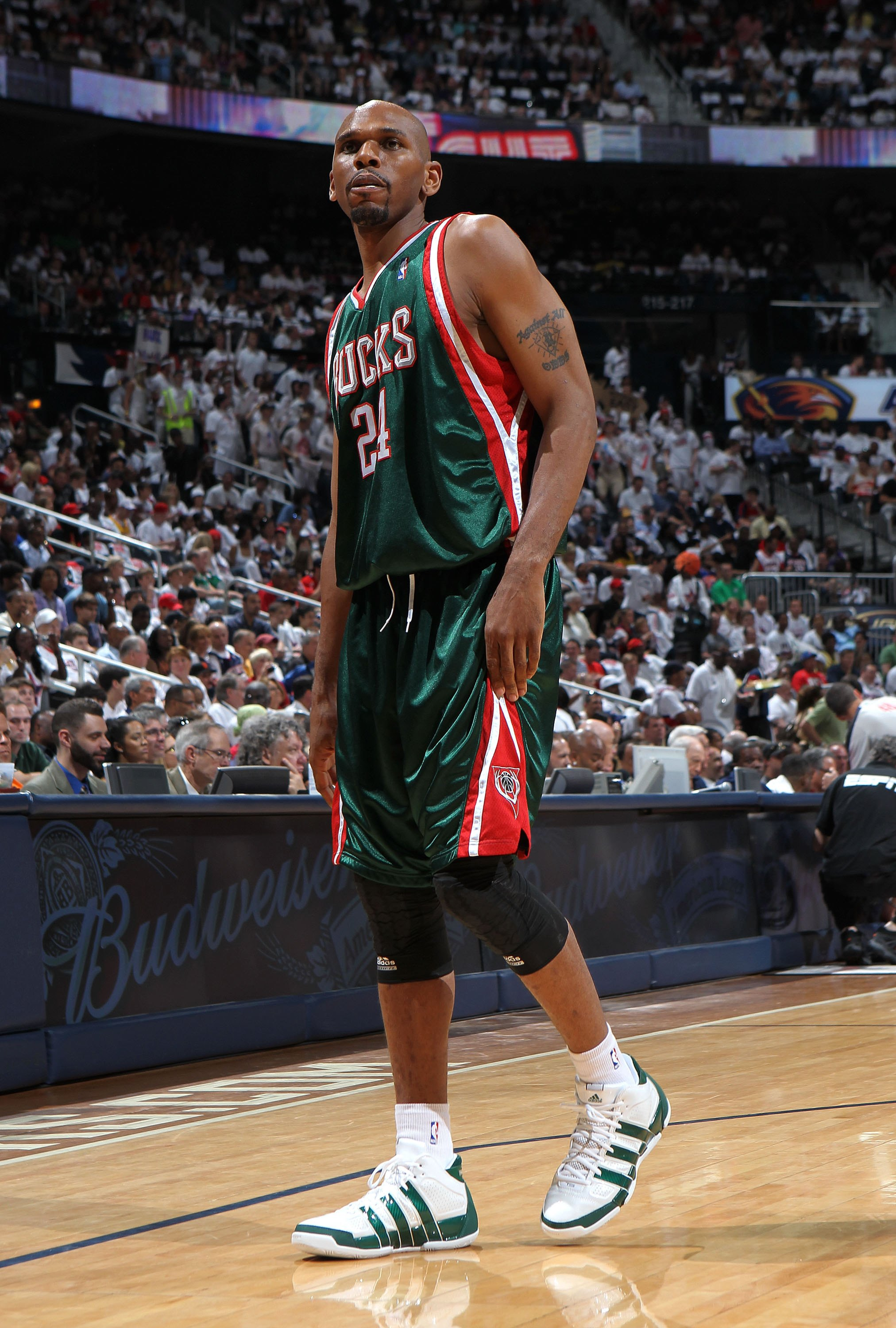 ATLANTA - MAY 2:  Guard Jerry Stackhouse #24 of the Milwaukee Bucks looks at the scoreboard during Game Seven of the Eastern Conference Quarterfinals between the Milwaukee Bucks and the Atlanta Hawks during the 2010 NBA Playoffs at Philips Arena on May 2,