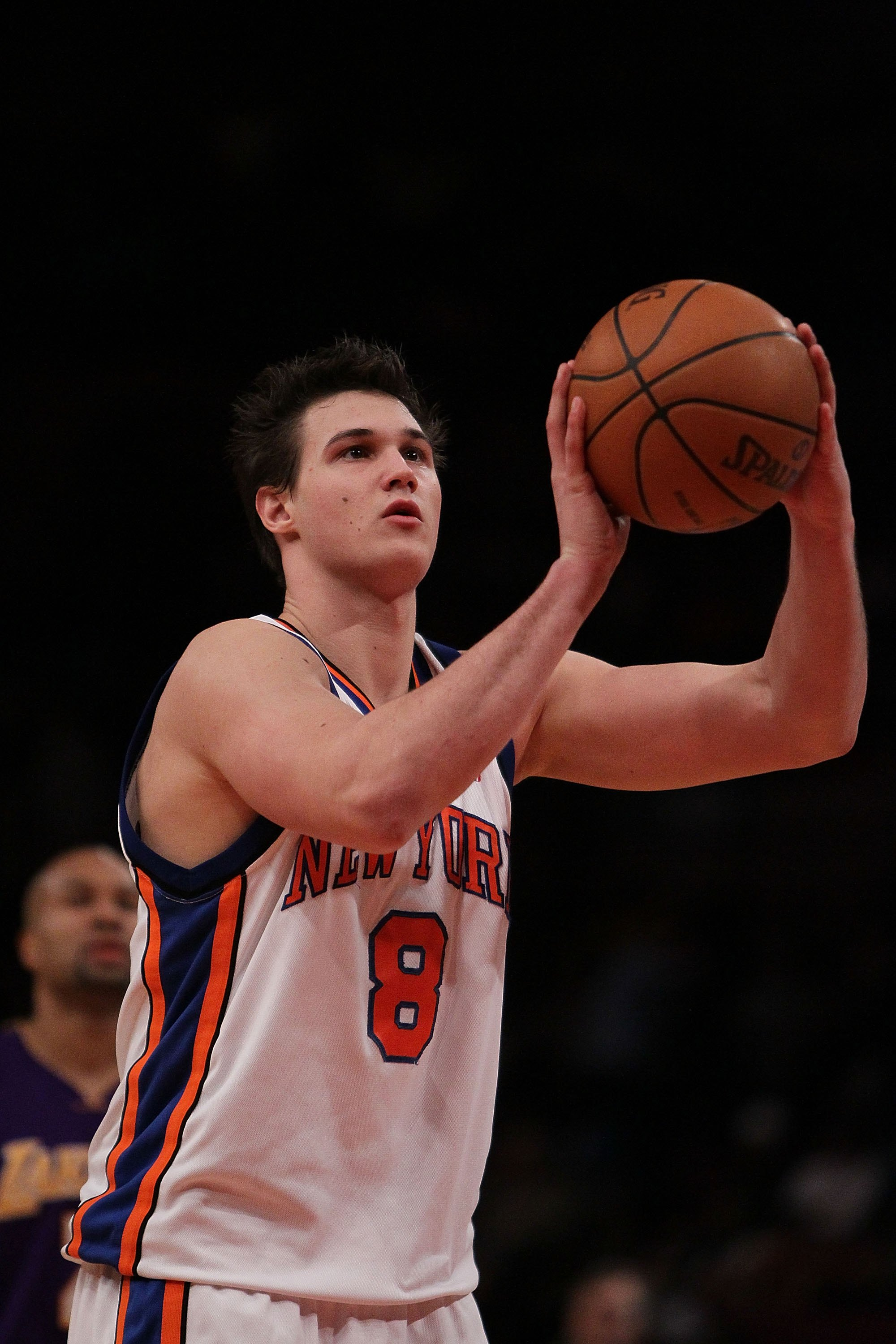 NEW YORK - JANUARY 22:  Danilo Gallinari #8 of the New York Knicks in action against the Los Angeles Lakers during their game at Madison Square Garden on January 22, 2010 in New York, New York.  NOTE TO USER: User expressly acknowledges and agrees that, b