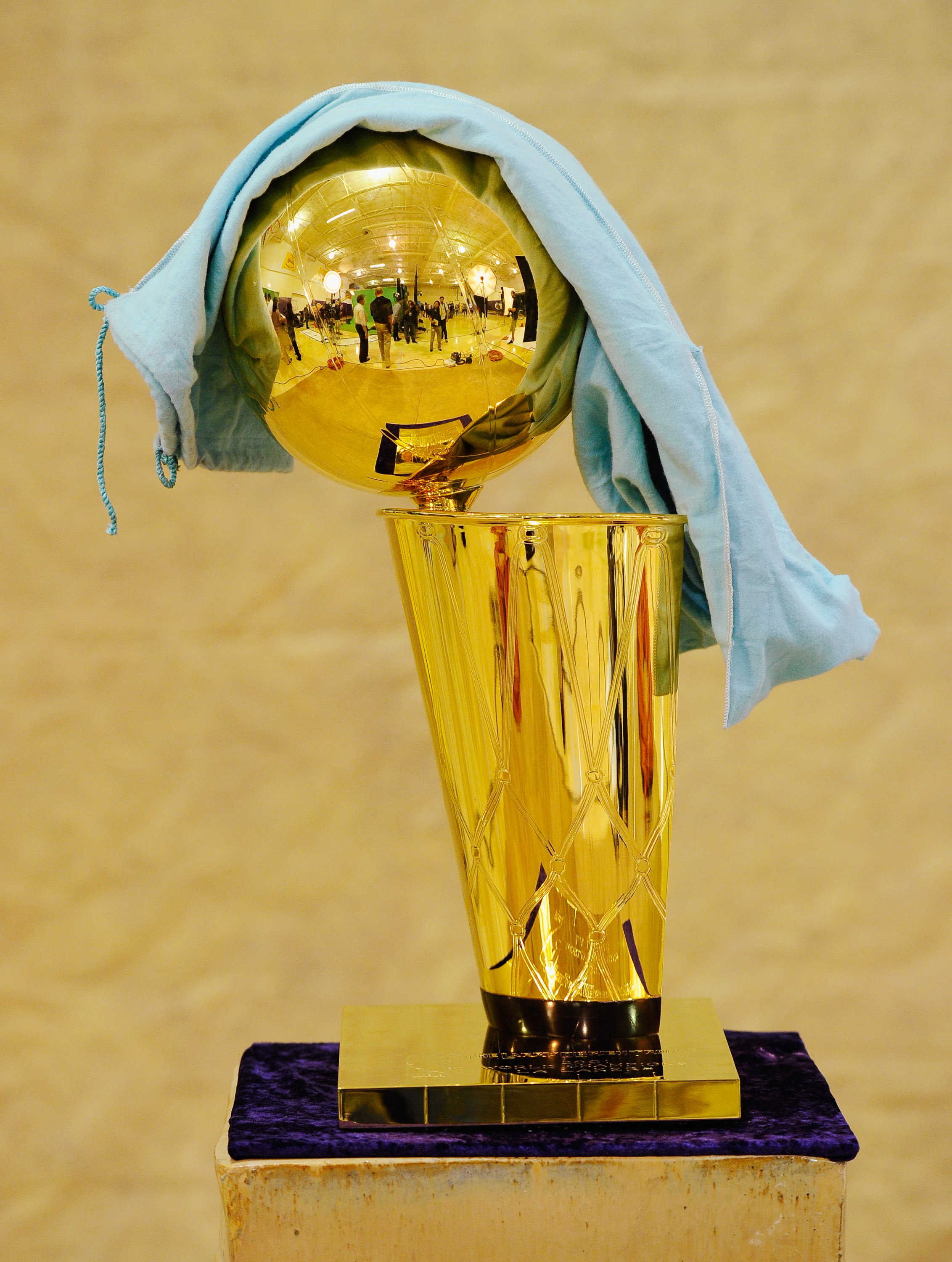 EL SEGUNDO, CA - SEPTEMBER 25:  NBA Finals Larry O'Brien Championship Trophy is covered with a protective cloth as it rest on a stand during the Los Angeles Lakers Media Day at the Toyota Center on September 25, 2010 in El Segundo, California. NOTE TO USE