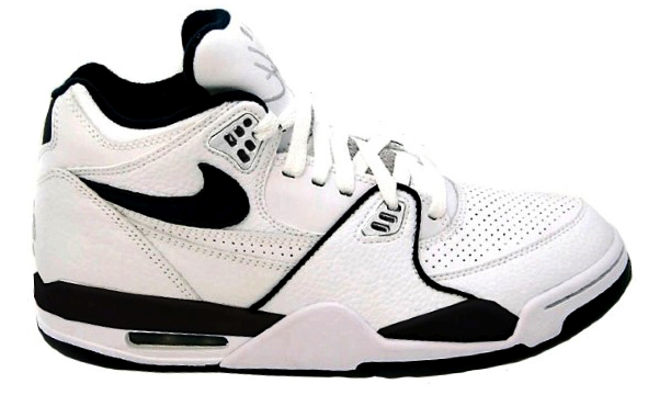 white and black high top nikes