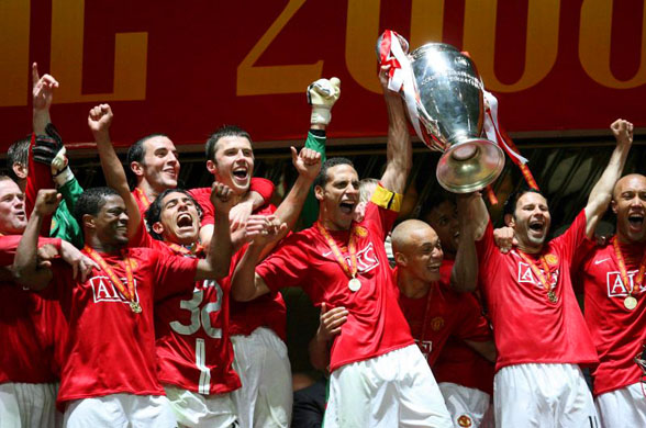 Manchester United With The UEFA Champions League Trophy Picture