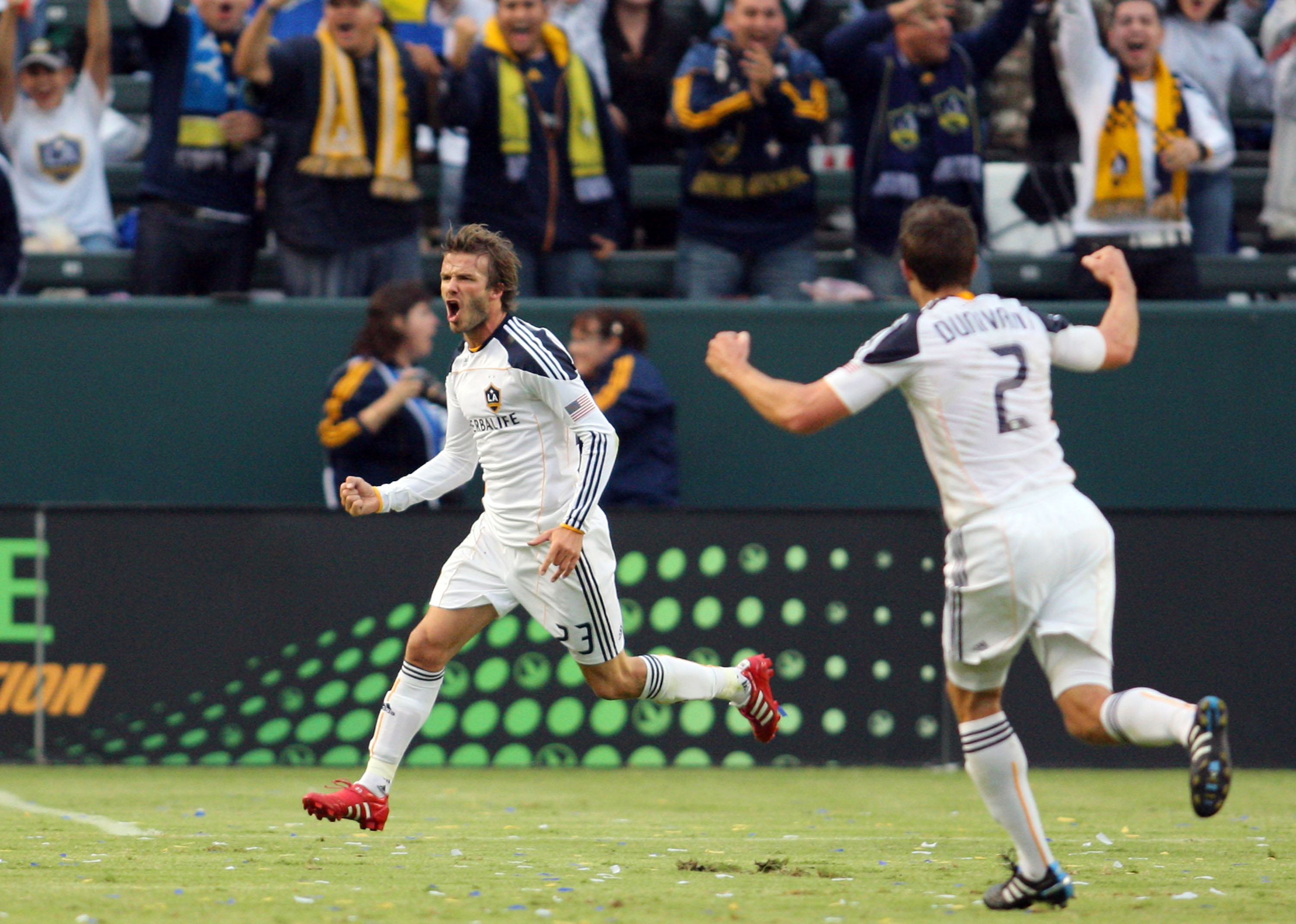 CARSON, CA - OCTOBER 24:  David Beckham #23 of the Los Angeles Galaxy celebrates his first half goal against FC Dallas during the MLS match on October 24, 2010 in Carson, California.  (Photo by Victor Decolongon/Getty Images)