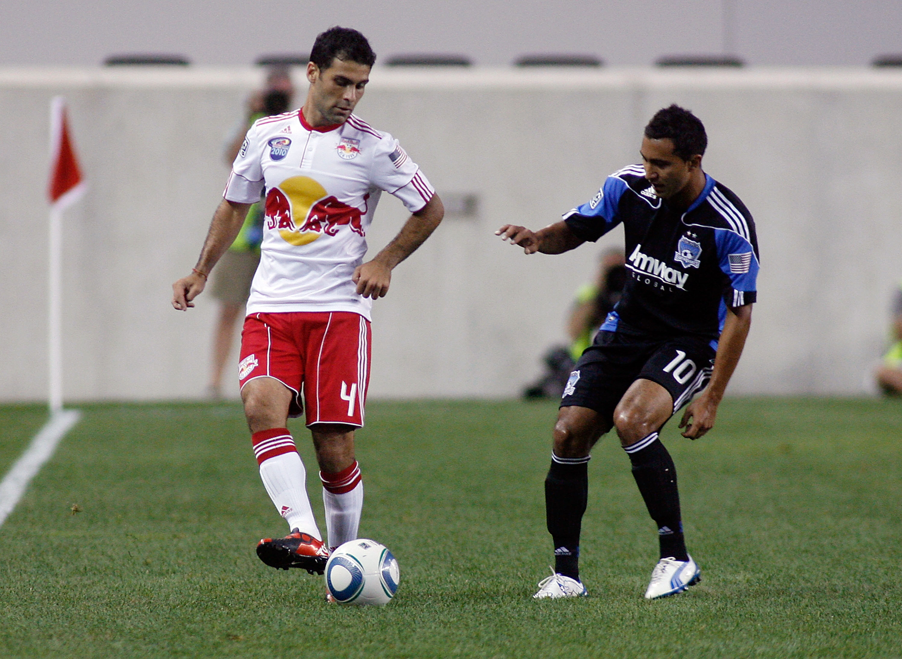 HARRISON, NJ - AUGUST 28: Thierry Henry #14 of the New York Red Bulls celebrates his first MLS goal in the 63rd minute with teammate Juan Pablo Angel #9 against the San Jose Earthquakes on August 28, 2010 at Red Bull Arena in Harrison, New Jersey. (Photo