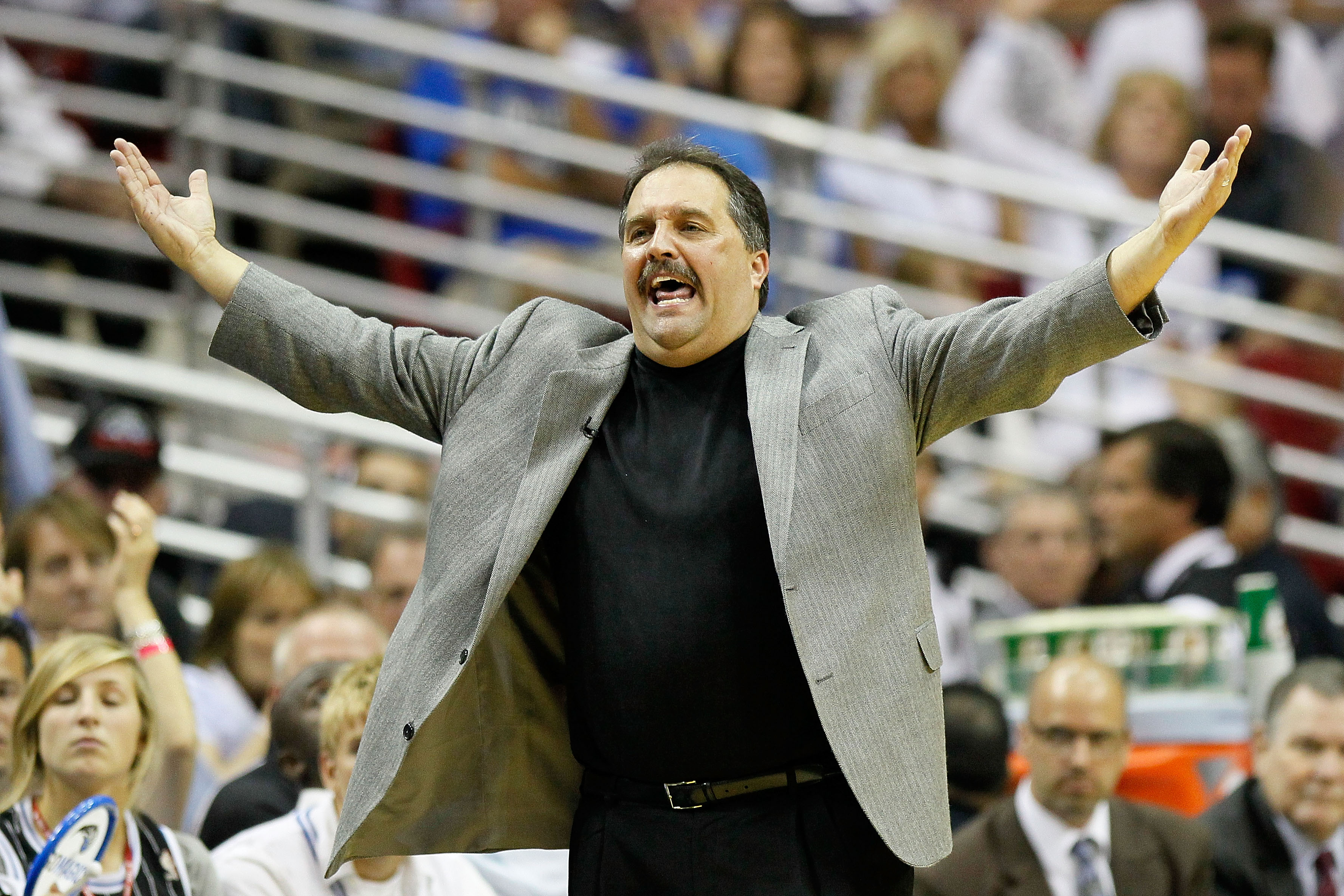 ORLANDO, FL - MAY 26:  Head coach Stan Van Gundy of the Orlando Magic reacts in the first quarter against the Boston Celtics in Game Five of the Eastern Conference Finals during the 2010 NBA Playoffs at Amway Arena on May 26, 2010 in Orlando, Florida.  NO