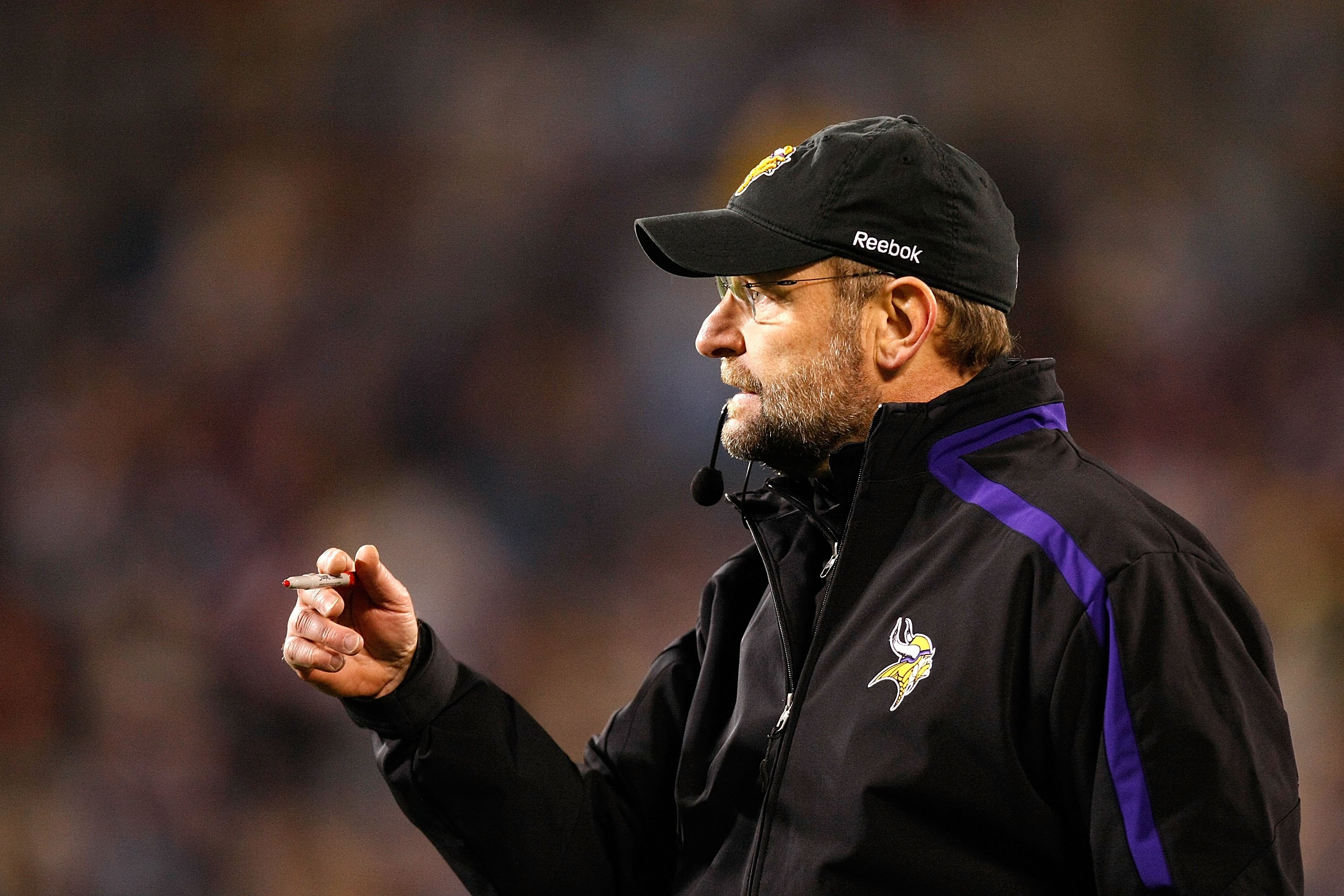 CHARLOTTE, NC - DECEMBER 20:  Head coach Brad Childress of the Minnesota Vikings against the Carolina Panthers at Bank of America Stadium on December 20, 2009 in Charlotte, North Carolina.  (Photo by Kevin C. Cox/Getty Images)