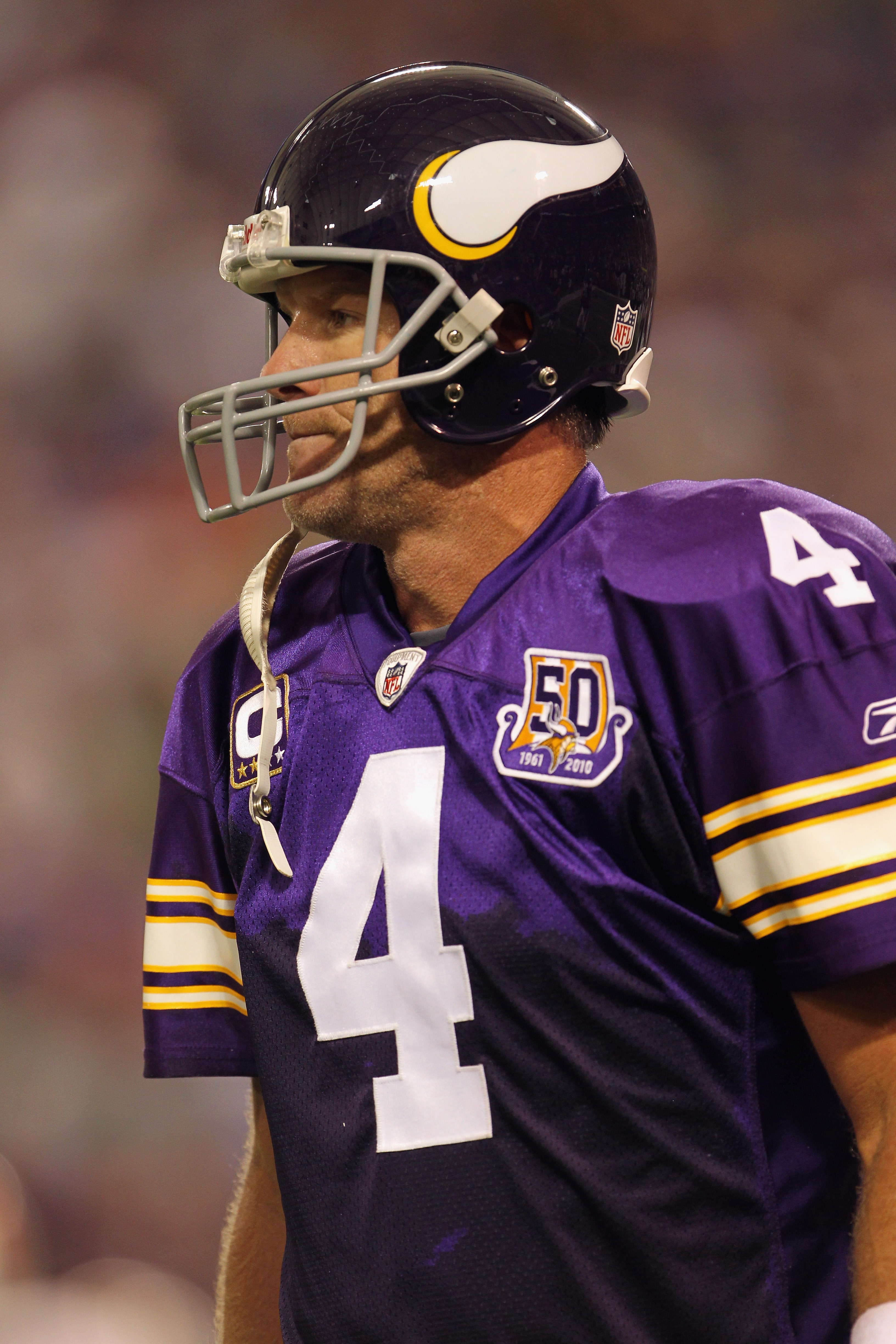 MINNEAPOLIS - SEPTEMBER 19:  Quarterback Brett Favre #4 of the Minnesota Vikings in action during the game against the Miami Dolphins on September 19, 2010 at Hubert H. Humphrey Metrodome in Minneapolis, Minnesota.  (Photo by Jamie Squire/Getty Images)