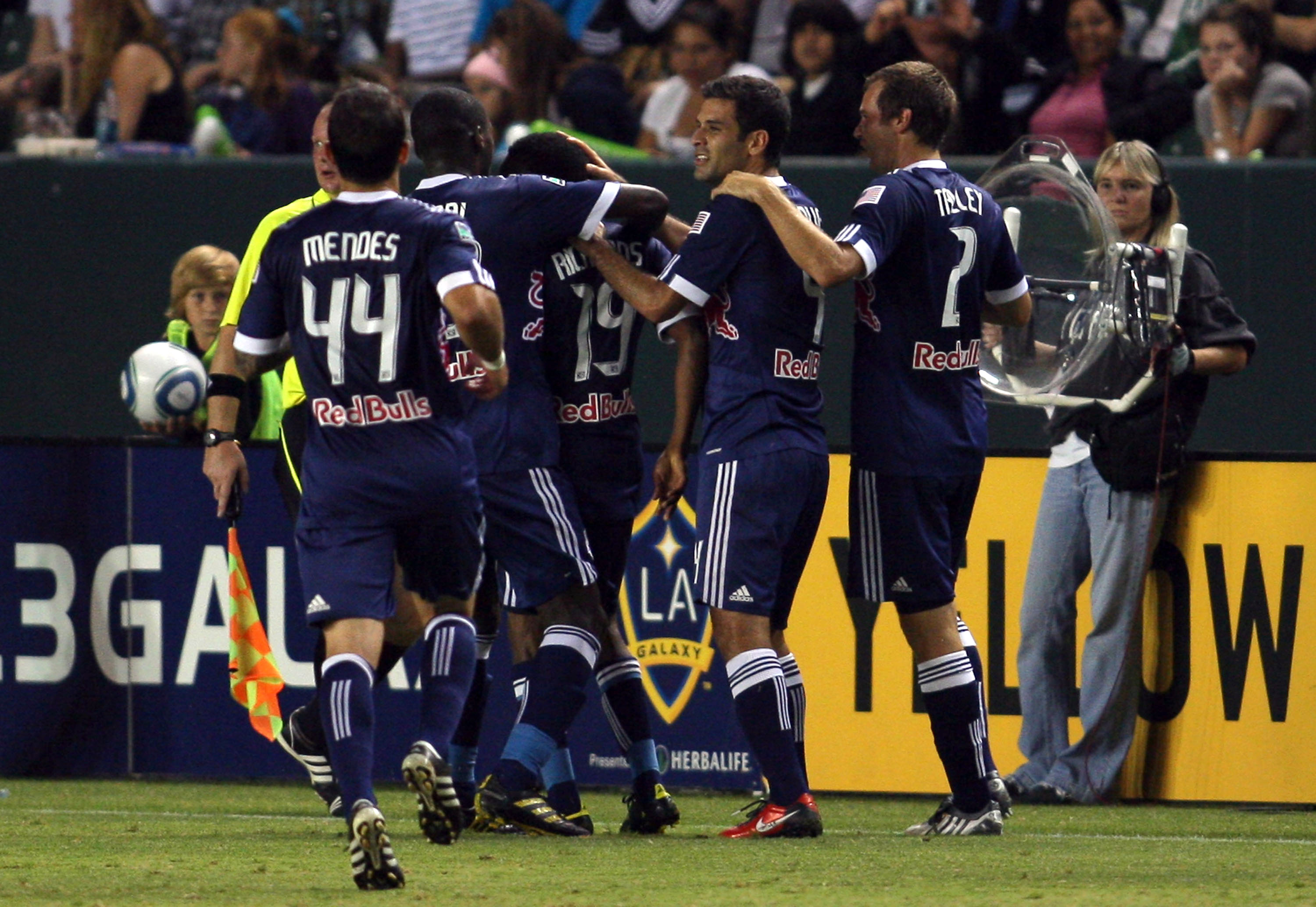 CARSON, CA - SEPTEMBER 24:  Carlos Mendes #44, Tony Tchani #23, Rafael Marquez #4 and Carey Talley #2 of New York Red Bulls celebrate with teammate Dane Richards #19 after Richards' first half goal against the Los Angeles Galaxy during the MLS match at Th