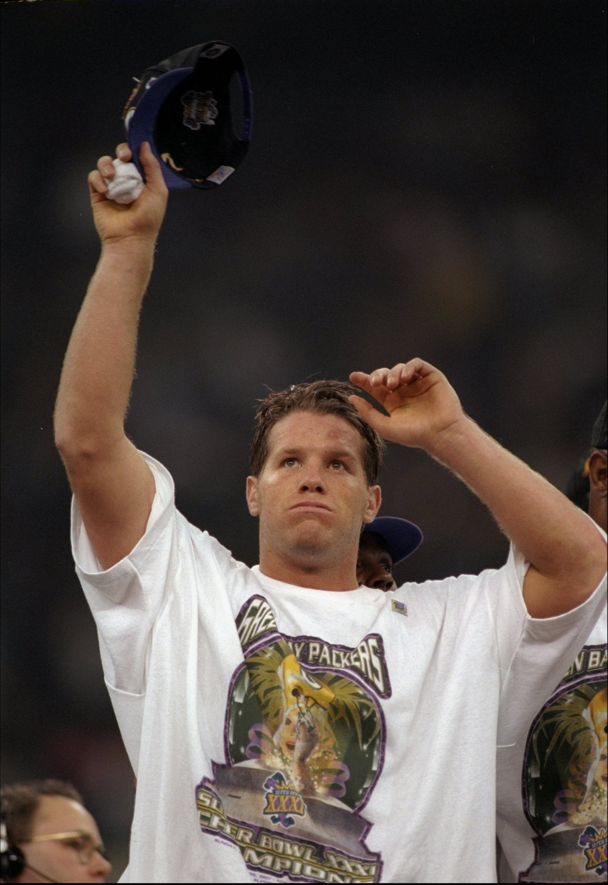 26 Jan 1997:  Quarterback Brett Favre of the Green Bay Packers celebrates after Super Bowl XXXI against the New England Patriots at the Superdome in New Orleans, Louisiana.  The Packers won the game, 35-21. Mandatory Credit: Al Bello  /Allsport