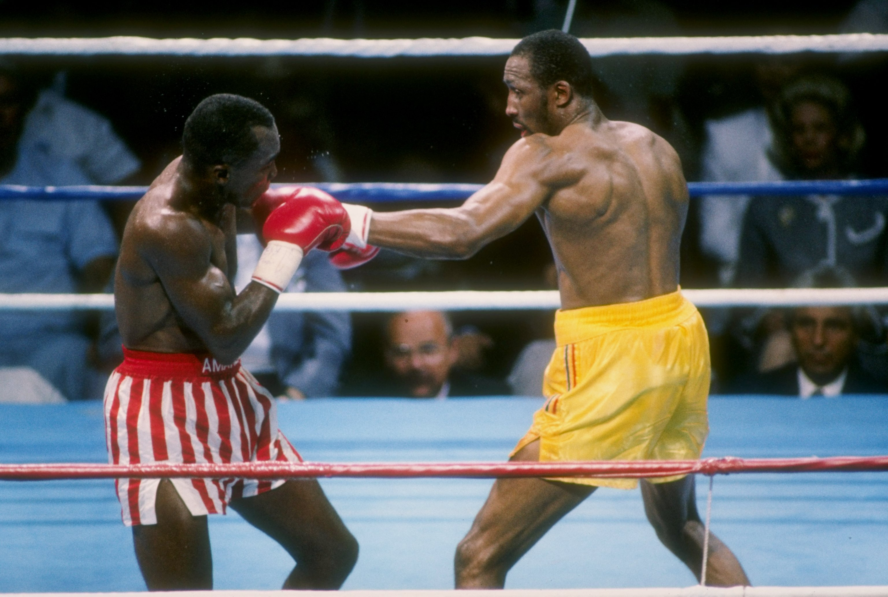 LAS VEGAS - JUNE 12: Sugar Ray Leonard competes with Thomas Hearns for the WBC Super Middleweight Title, in a bout schedule for twelve rounds at the Caesars Palace on June 12, 1989 in Las Vegas, Nevada. The fight ended in a draw. Mandatory Credit: Mike Po