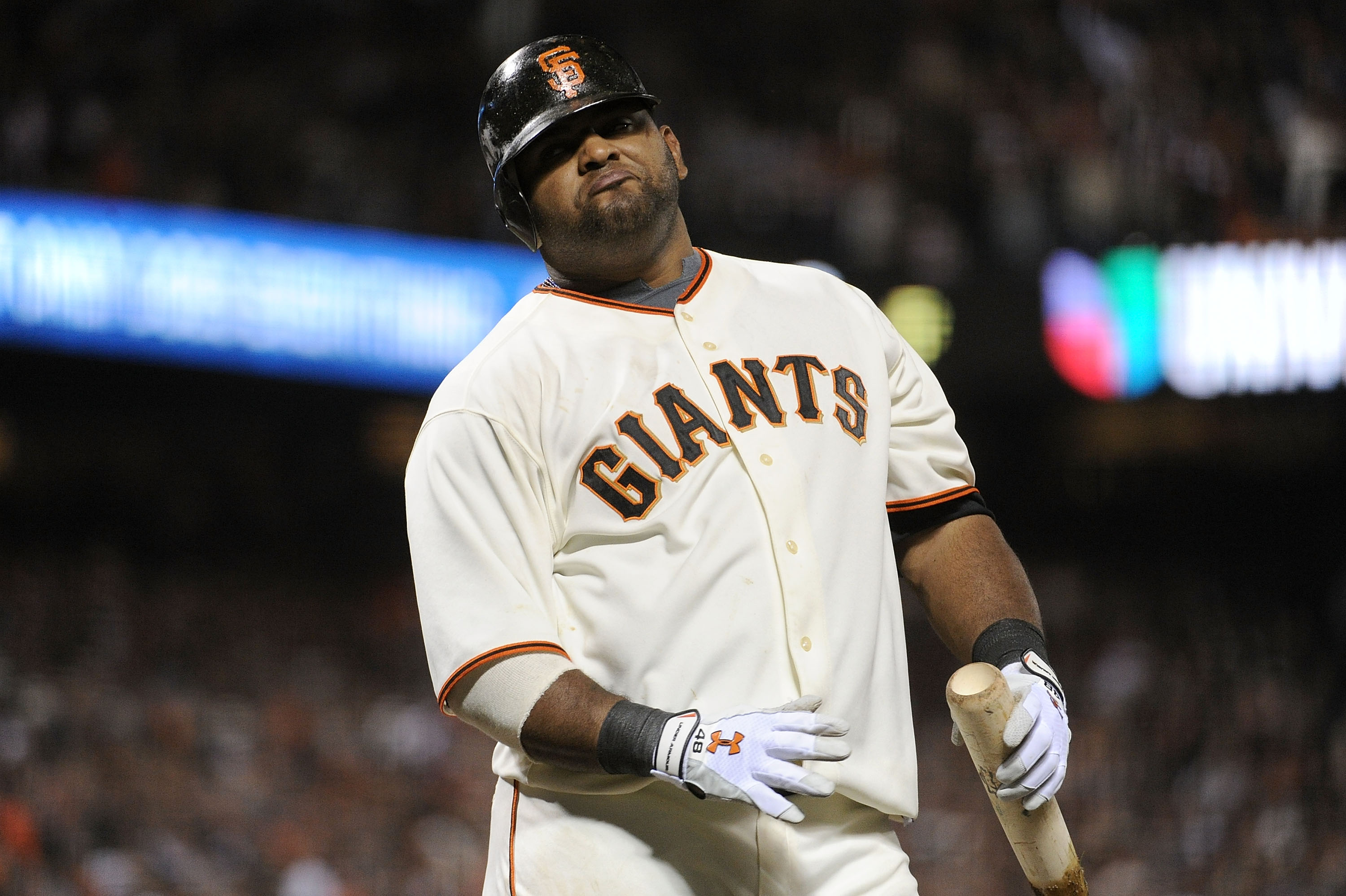 SAN FRANCISCO - OCTOBER 20:  Pablo Sandoval #48 of the San Francisco Giants reacts during an at-bat against the Philadelphia Phillies in Game Four of the NLCS during the 2010 MLB Playoffs at AT&T Park on October 20, 2010 in San Francisco, California.  (Ph