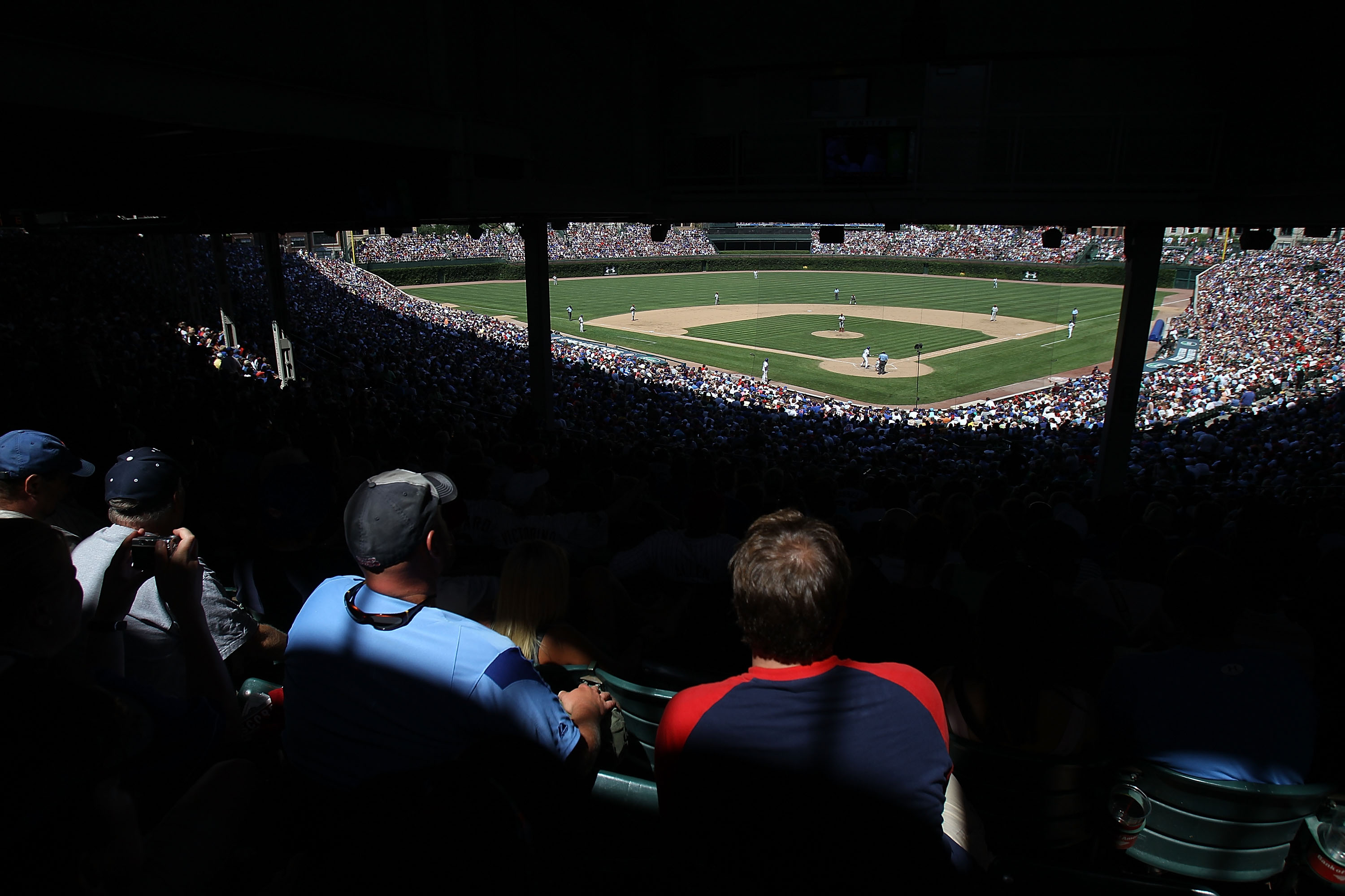 CHICAGO - JULY 16: A general view of Wrigley Field as fans watch the Chicago Cubs take on the Philadelphia Phillies on July 16, 2010 in Chicago, Illinois. The Cubs defeated the Phillies 4-3. (Photo by Jonathan Daniel/Getty Images)