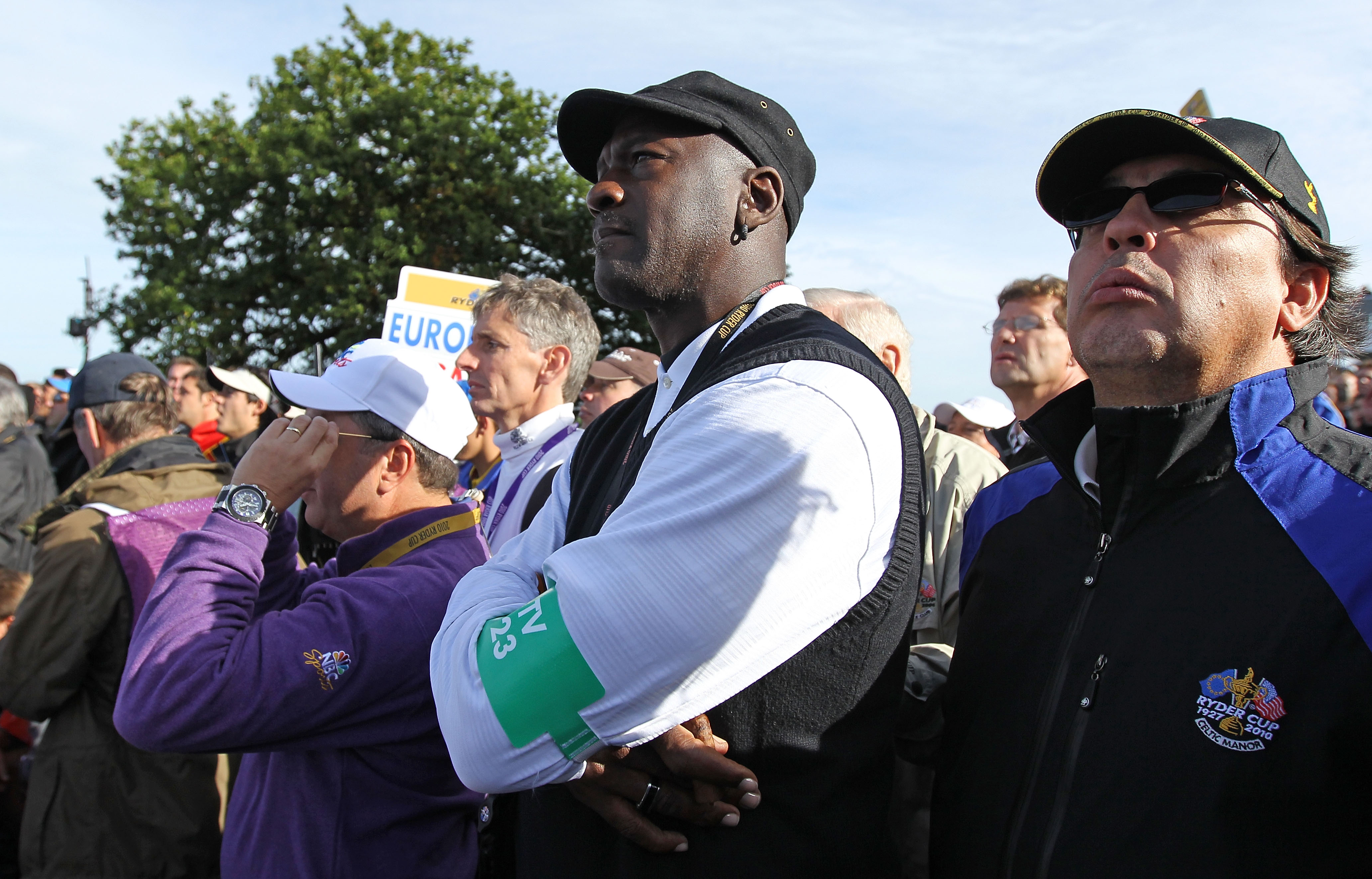 NEWPORT, WALES - OCTOBER 02:  Michael Jordan watches the action during the rescheduled Morning Fourball Matches during the 2010 Ryder Cup at the Celtic Manor Resort on October 2, 2010 in Newport, Wales.  (Photo by Andy Lyons/Getty Images)