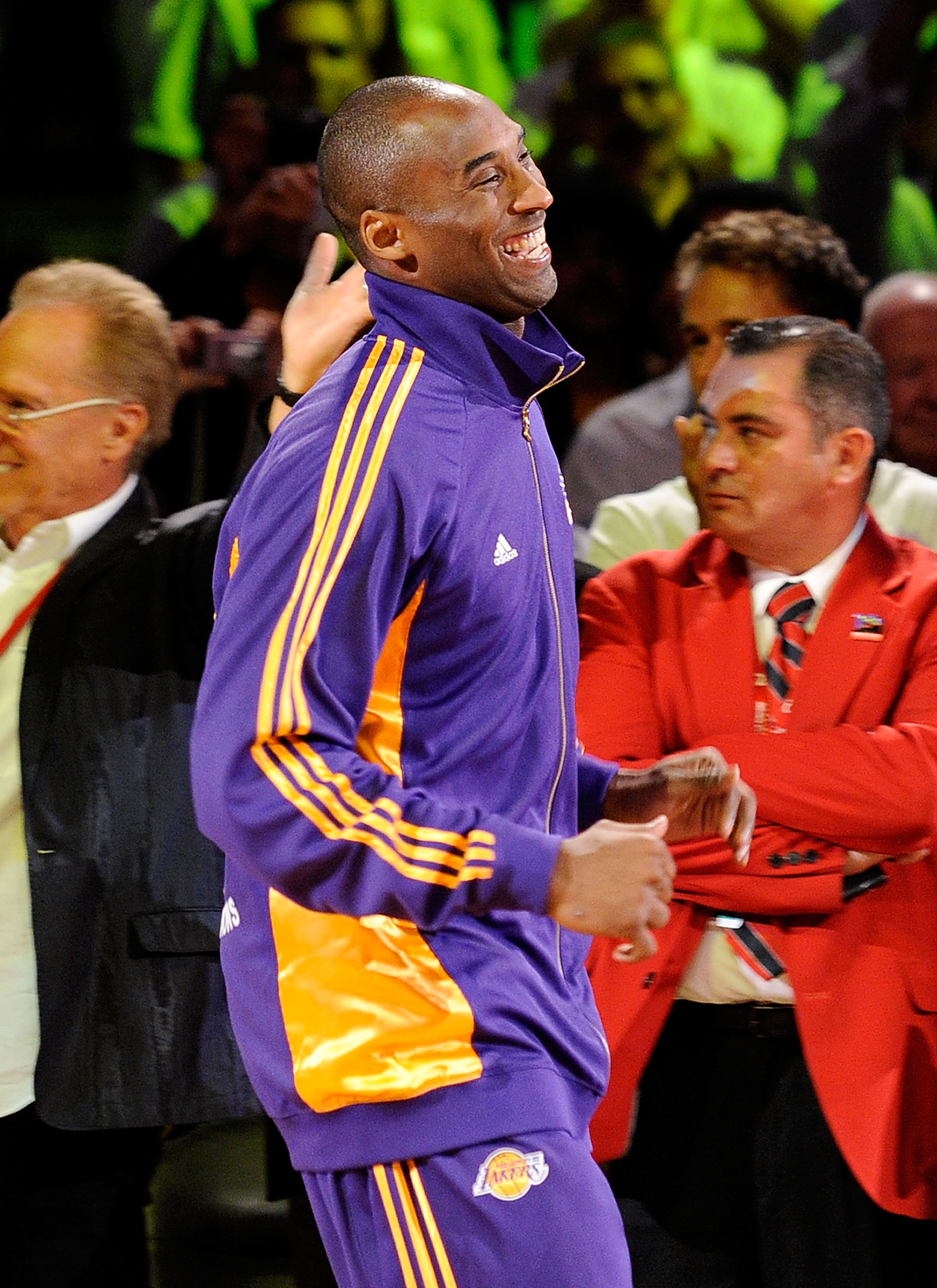 LOS ANGELES, CA - OCTOBER 27:  Kobe Bryant #24 of the Los Angeles Lakers smiles as he prepares to receive his 2009 NBA Championship ring before the season opening game against the Los Angeles Clippers at Staples Center on October 27, 2009 in Los Angeles,