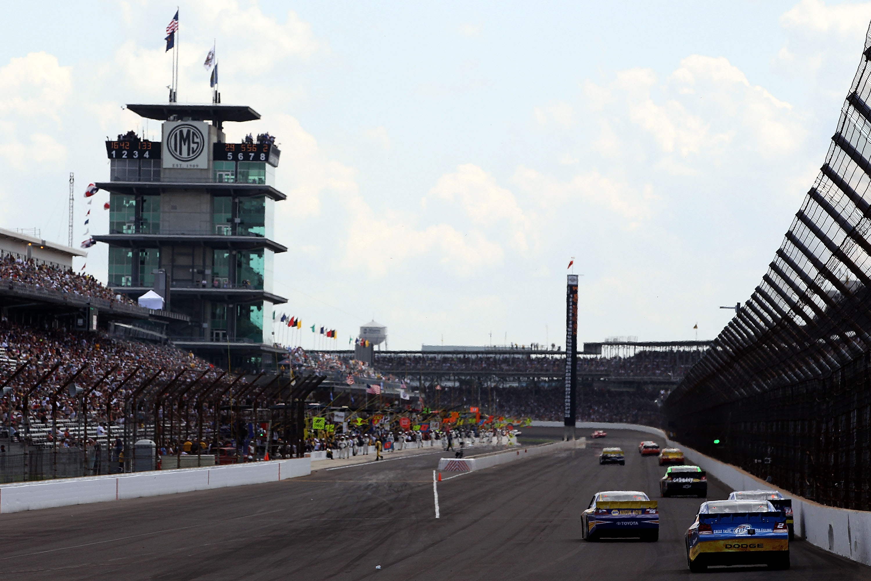 INDIANAPOLIS - JULY 25:  Kurt Busch, driver of the #2 Miller Lite/Vortex Dodge, drives during the NASCAR Sprint Cup Series Brickyard 400 at Indianapolis Motor Speedway on July 25, 2010 in Indianapolis, Indiana.  (Photo by Christian Petersen/Getty Images)