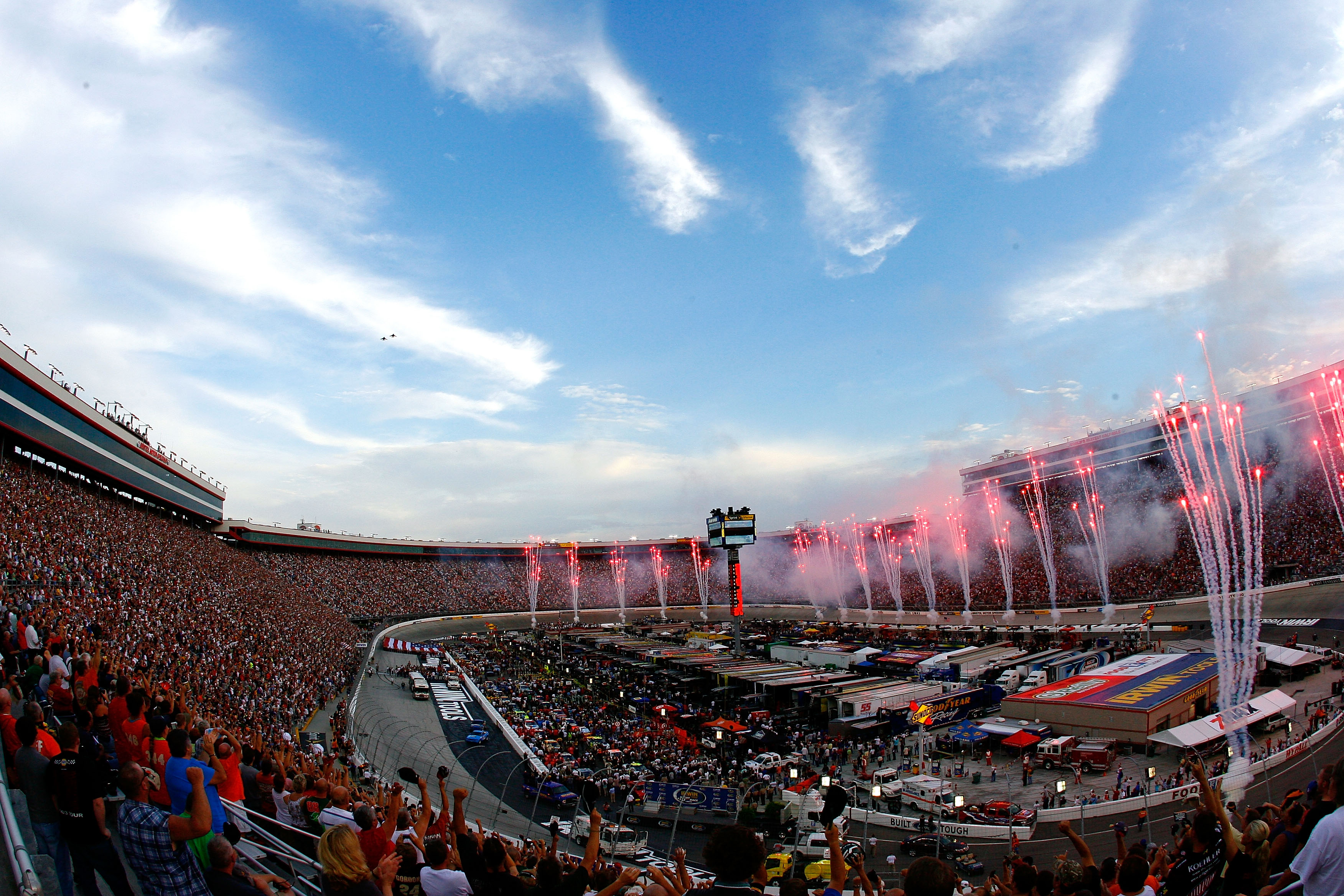 BRISTOL, TN - AUGUST 21:  Fireworks explode during pre-race ceremonies prior to the NASCAR Sprint Cup Series IRWIN Tools Night Race at Bristol Motor Speedway on August 21, 2010 in Bristol, Tennessee.  (Photo by Geoff Burke/Getty Images for NASCAR)