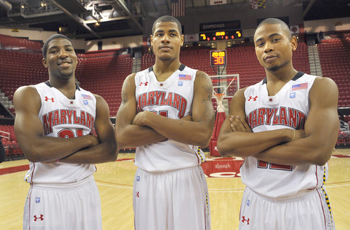 (l-r) guard Pe'Shon Howard, forward Mychal Parker and guard Terrell Stoglin highlight the new crop of Maryland basketball players. (Amy Davis / Baltimore Sun Photo / October 12, 2010)