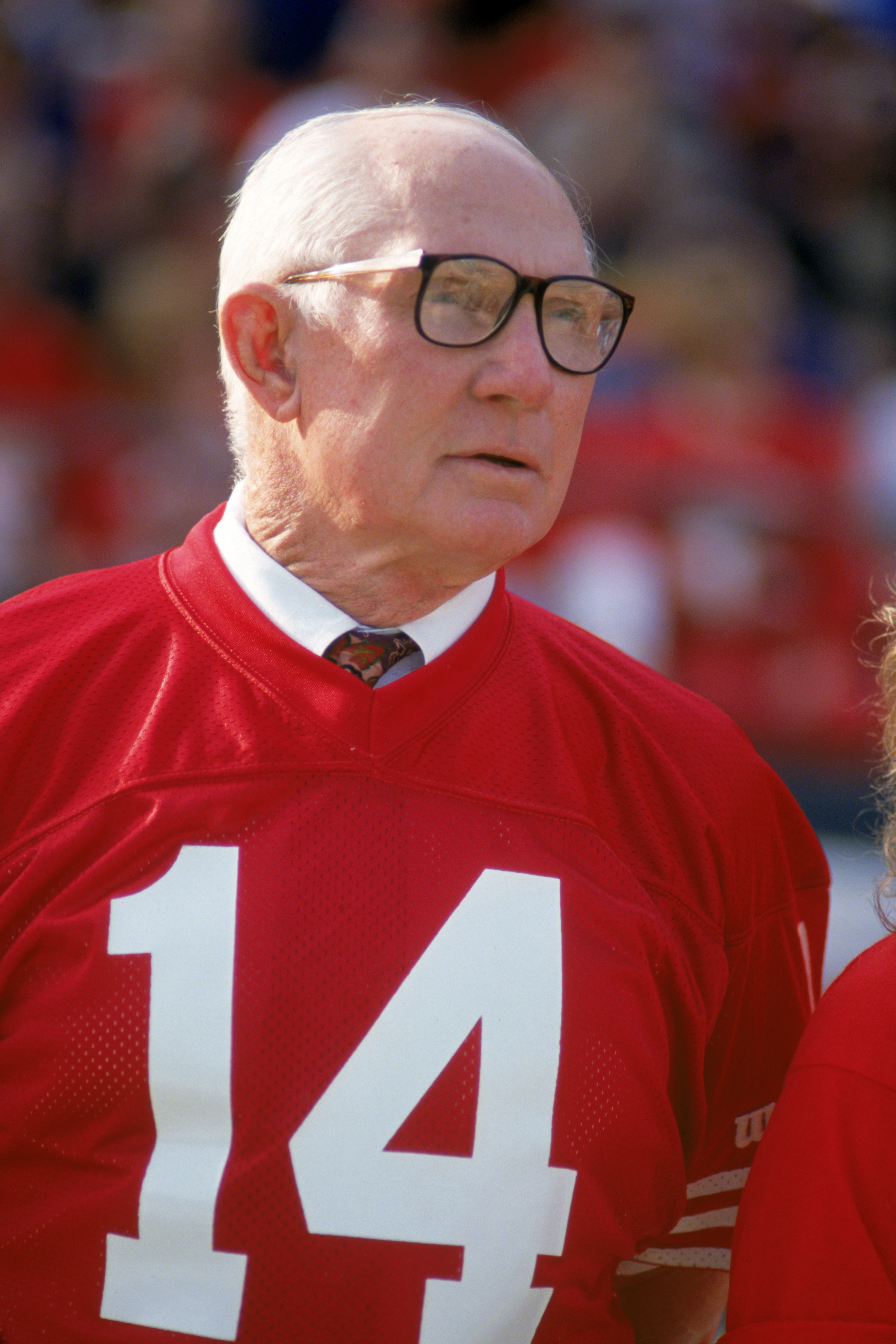 SAN FRANCISCO - NOVEMBER 15:  49ers Hall of Famer, Y.A. Tittle, attends a game between the San Francisco 49ers and New Orleans Saints at Candlestick Park on November 15, 1992 in San Francisco, California.  The 49ers won 21-20.  (Photo by George Rose/Getty