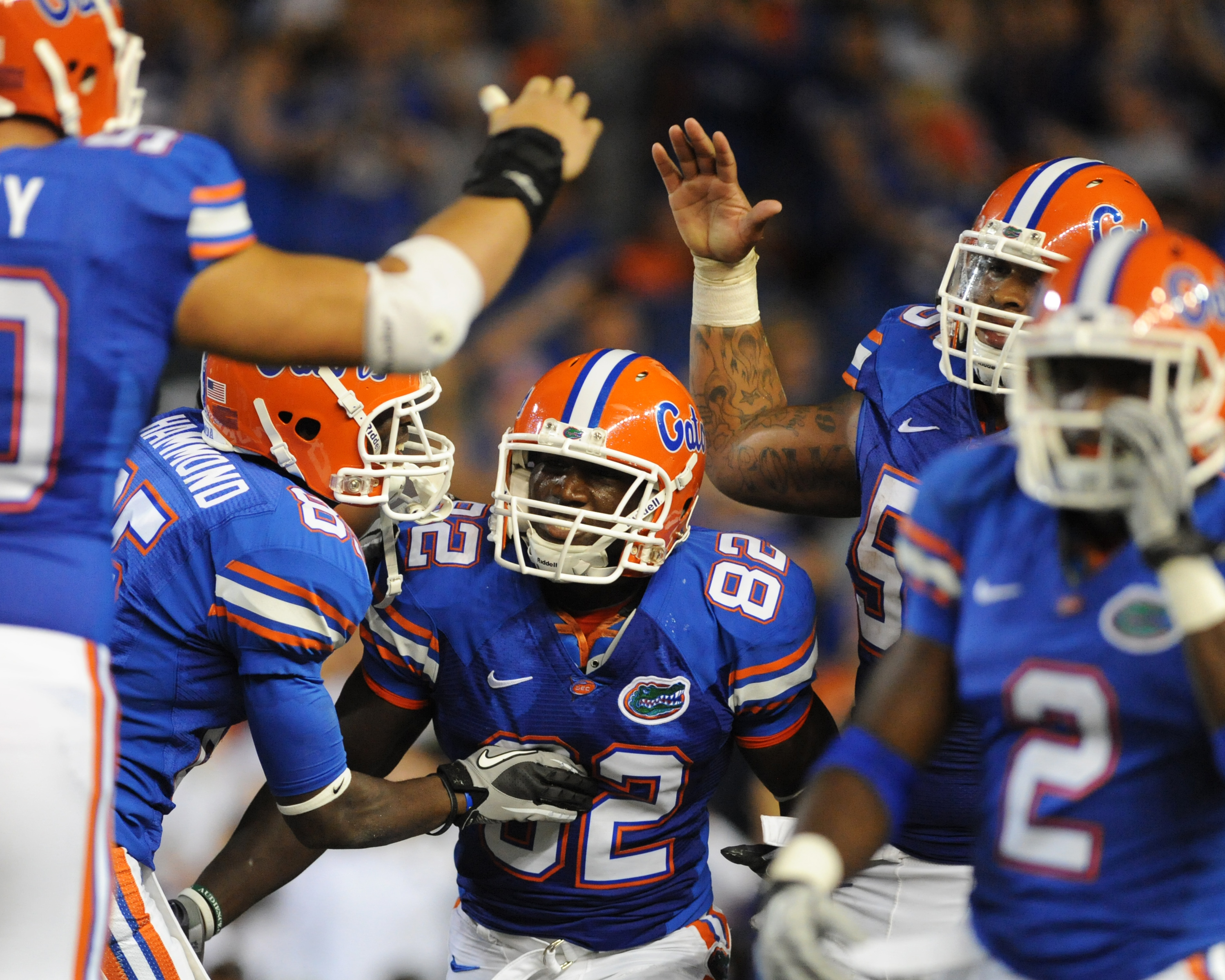 GAINESVILLE, FL - OCTOBER 16:  Wide receiver Omarius Hines #82 of the Florida Gators celebrates a touchdown catch against the Mississippi State Bulldogs  October 16, 2010 Ben Hill Griffin Stadium at Gainesville, Florida.  (Photo by Al Messerschmidt/Getty