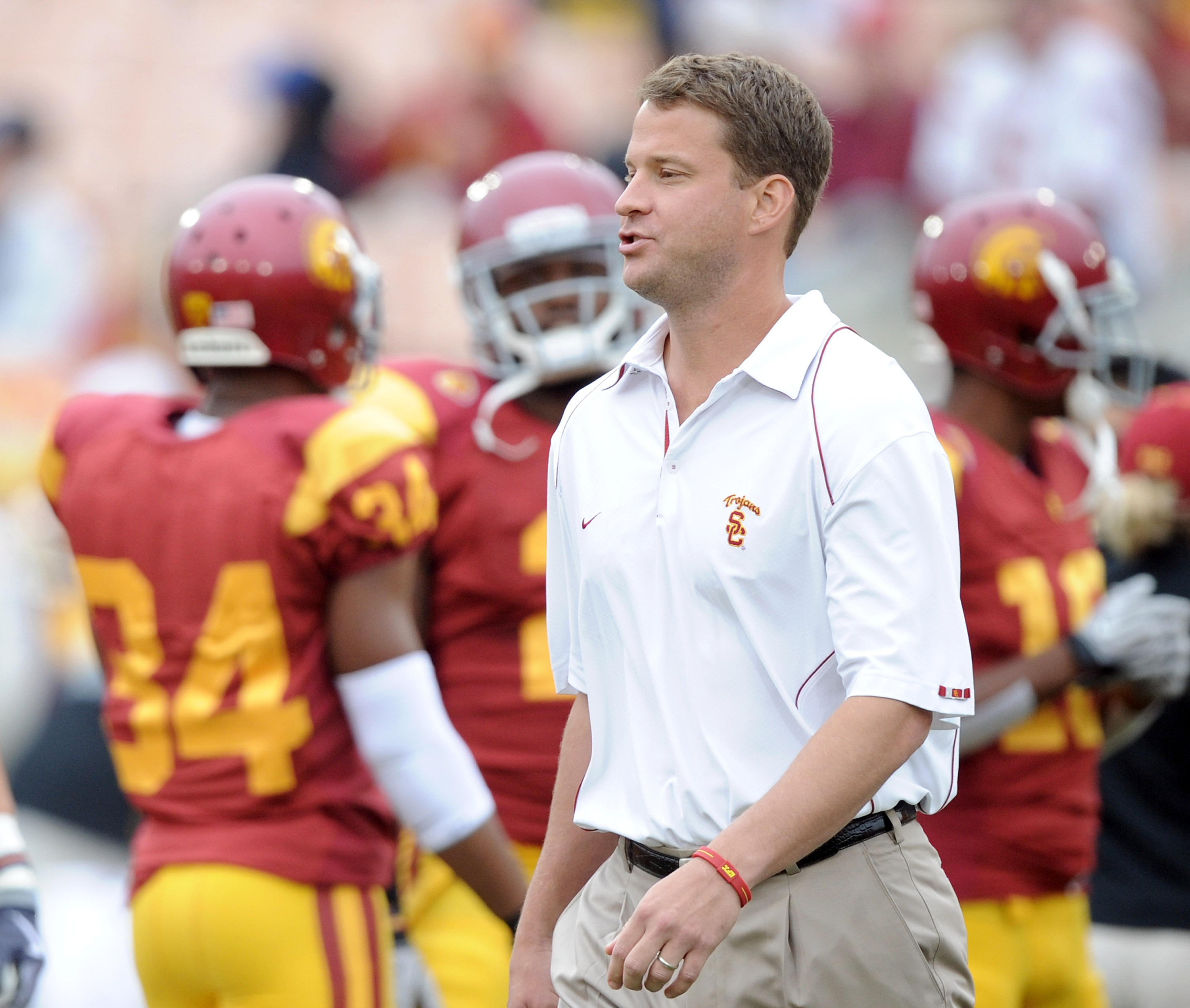 LOS ANGELES, CA - OCTOBER 16:  Head Coach Lane Kiffin of the USC Trojans during warm up against the California Golden Bears at Los Angeles Memorial Coliseum on October 16, 2010 in Los Angeles, California.  (Photo by Harry How/Getty Images)