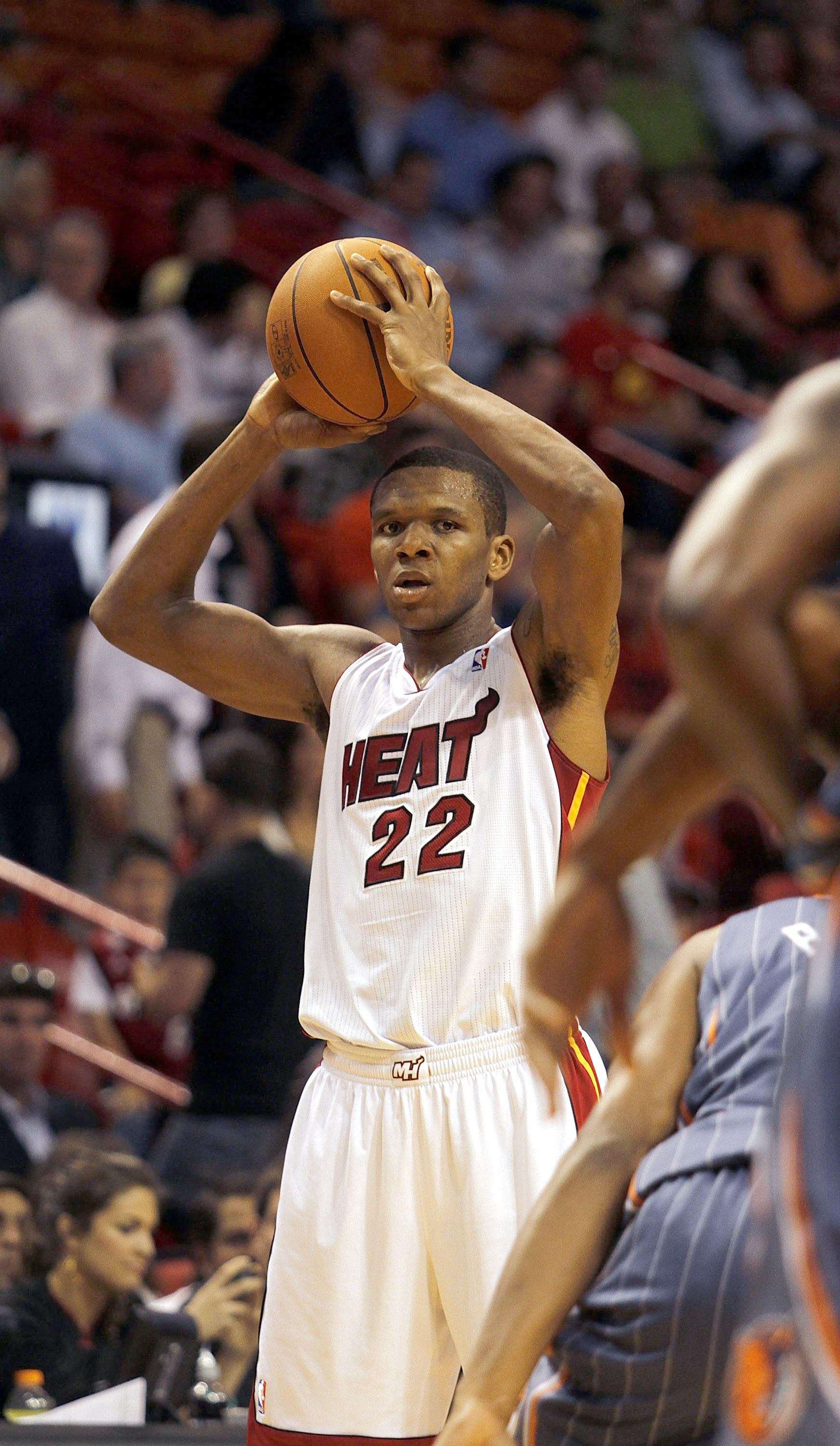 MIAMI - OCTOBER 18:  Forward James Jones #22 of the Miami Heat looks to pass against the Charlotte Bobcats on October 18, 2010 at American Airlines Arena in Miami, Florida. NOTE TO USER: User expressly acknowledges and agrees that, by downloading and/or u