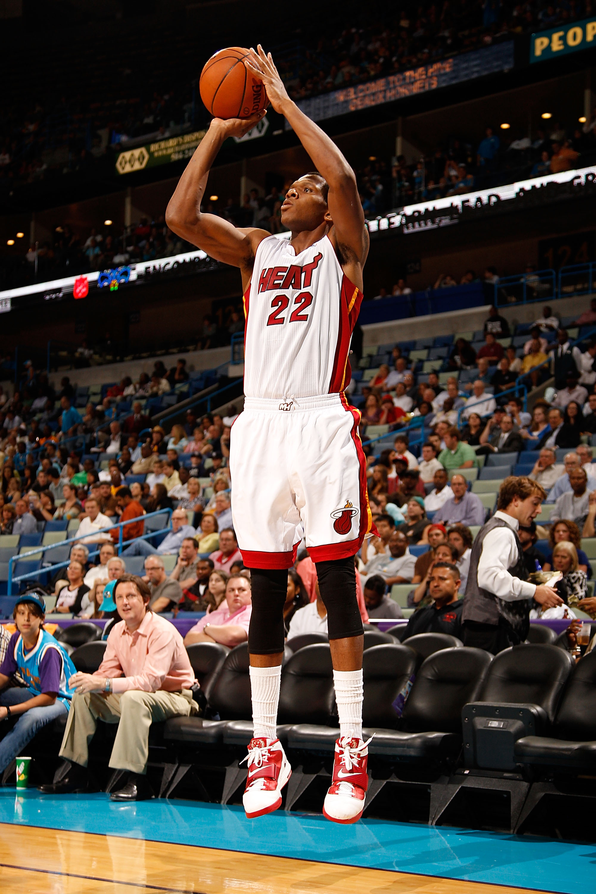 NEW ORLEANS - OCTOBER 13:  James Jones #22 of the Miami Heat shoots the ball against the New Orleans Hornets at the New Orleans Arena on October 13, 2010 in New Orleans, Louisiana.  NOTE TO USER: User expressly acknowledges and agrees that, by downloading
