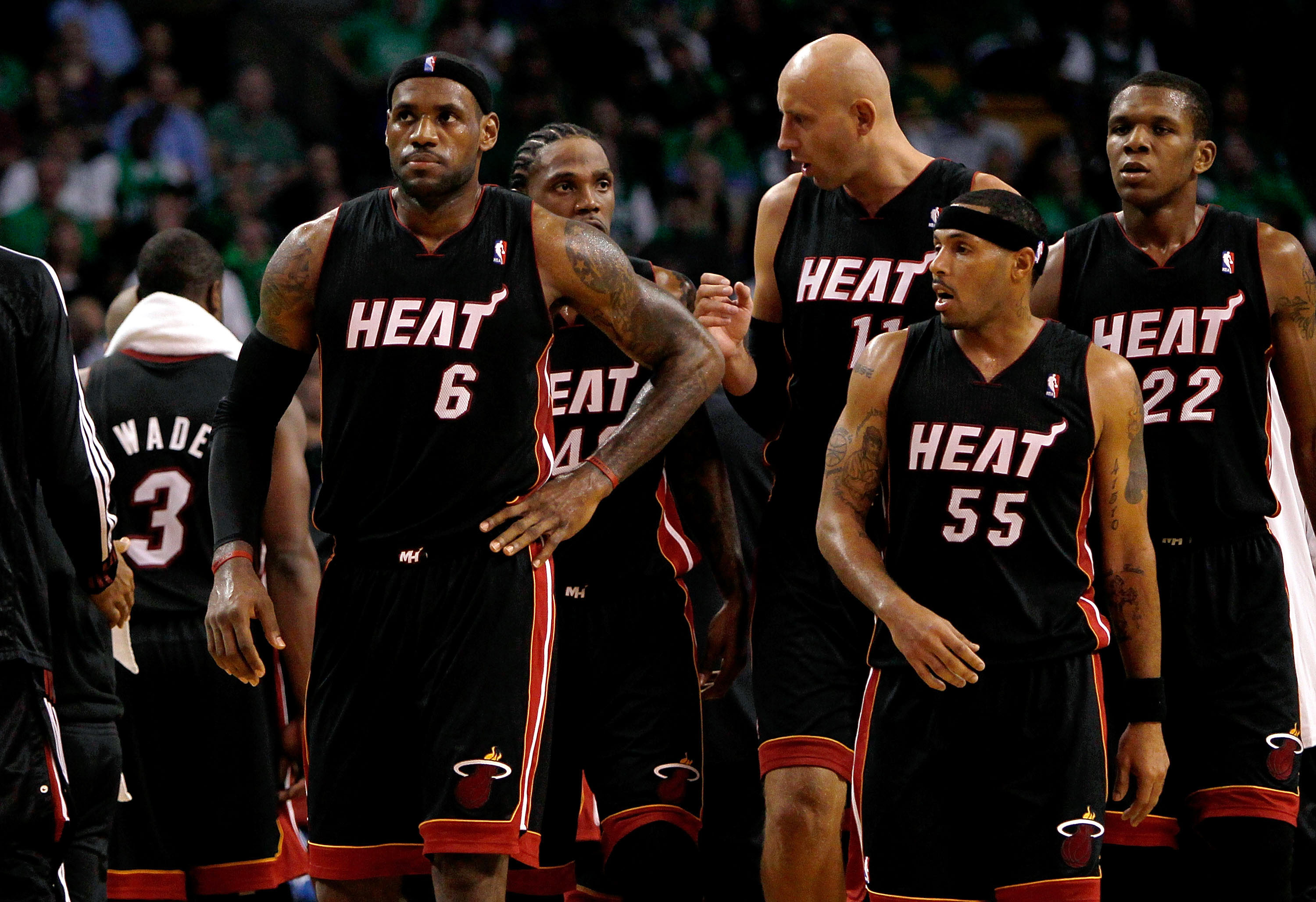 BOSTON, MA - OCTOBER 26: LeBron James #6 of the Miami Heat leads his team onto the court after a time out during a game against the Boston Celtics at the TD Banknorth Garden on October 26, 2010 in Boston, Massachusetts. NOTE TO USER: User expressly acknow