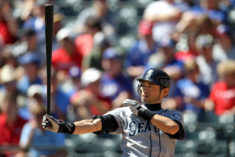 ARLINGTON, TX - SEPTEMBER 29:  Ichiro Suzuki #51 of the Seattle Mariners at Rangers Ballpark in Arlington on September 29, 2010 in Arlington, Texas.  (Photo by Ronald Martinez/Getty Images)