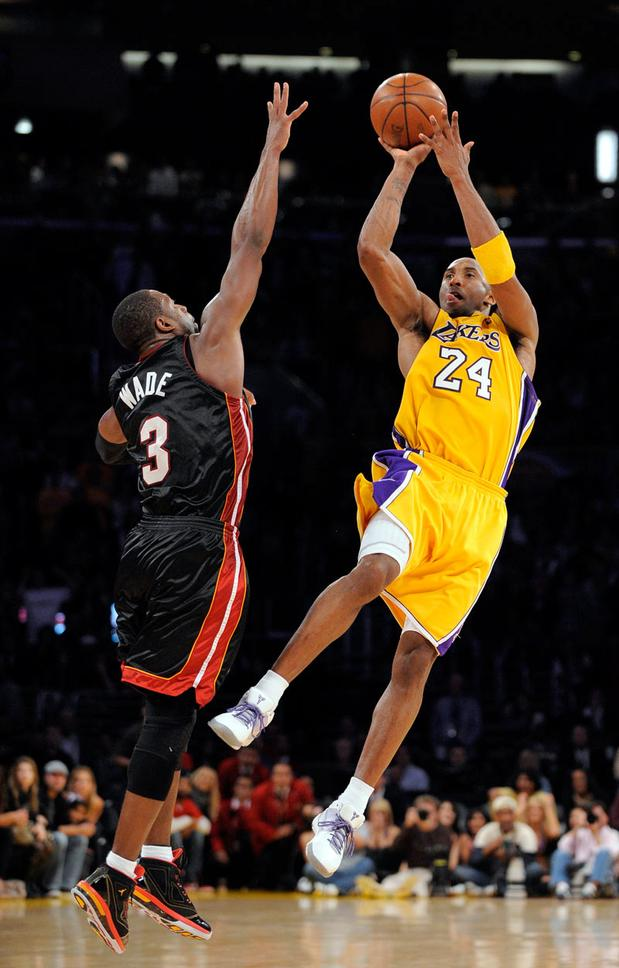 Kobe Bryant hitting a game winning 3-pointer against Miami last season