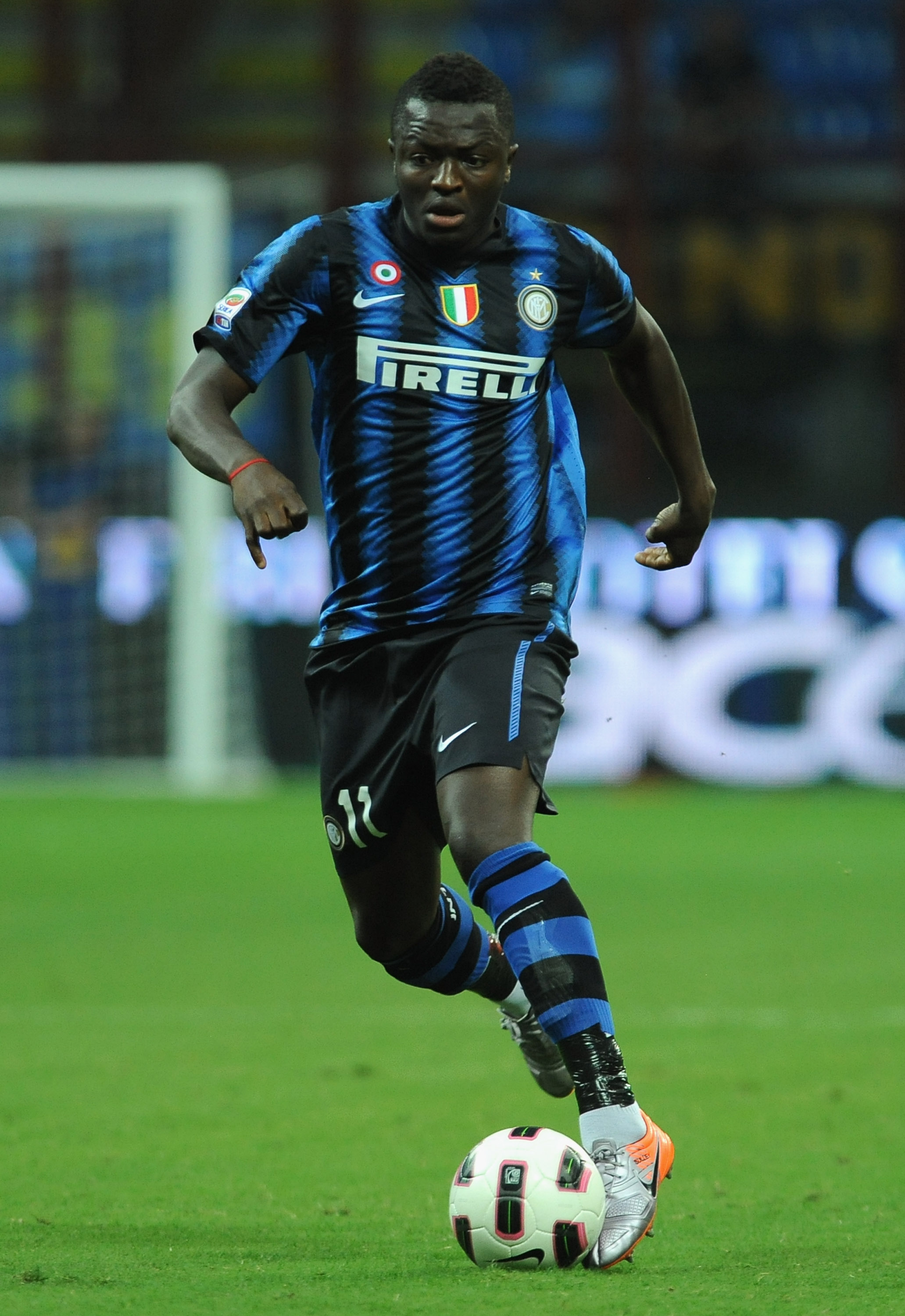 MILAN, ITALY - SEPTEMBER 11:  Sulley Ali Muntari of FC Internazionale in action during the Serie A match between FC Internazionale and Udinese Calcio at Stadio Giuseppe Meazza on September 11, 2010 in Milan, Italy.  (Photo by Valerio Pennicino/Getty Image