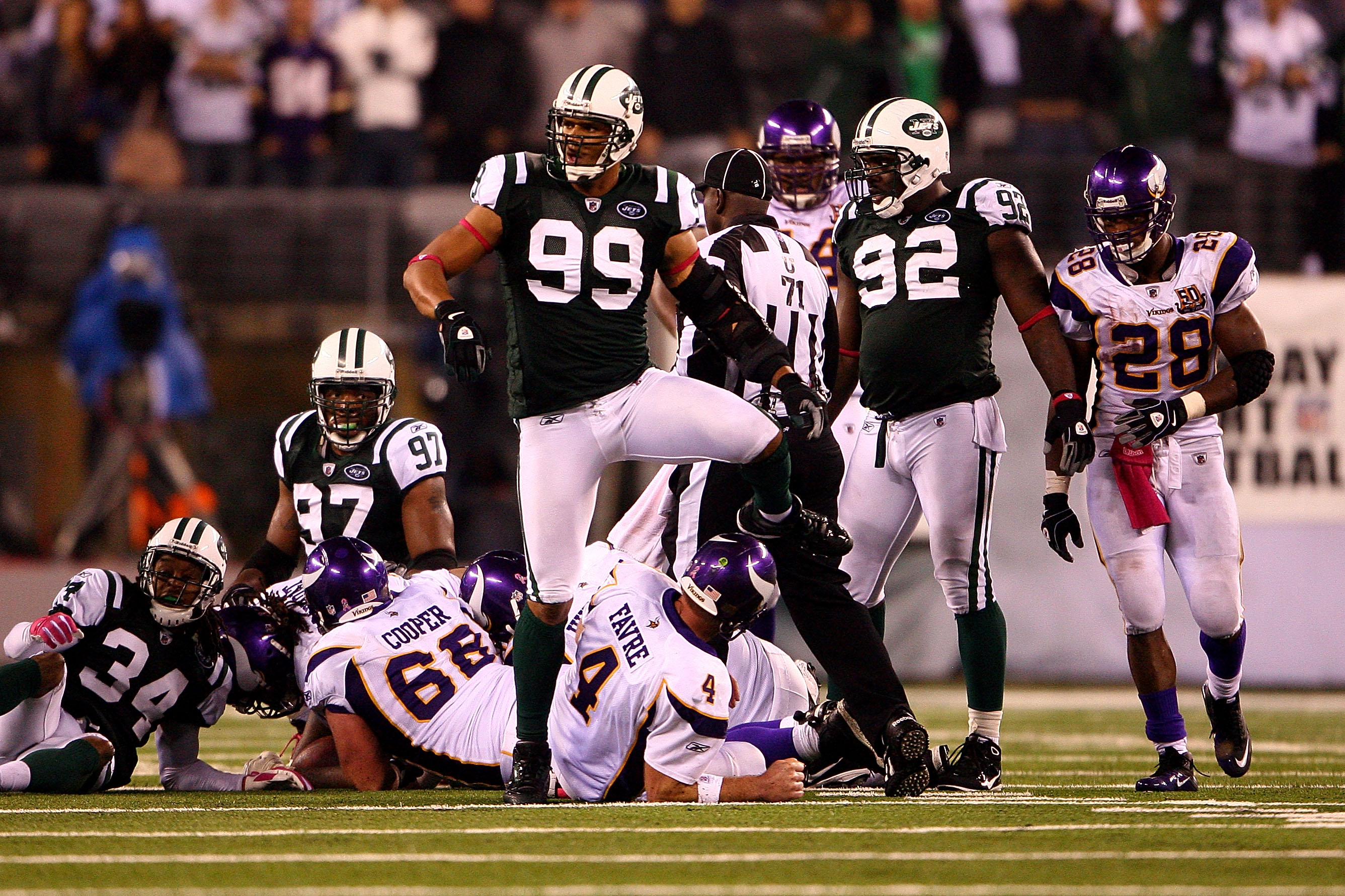 EAST RUTHERFORD, NJ - OCTOBER 11:  Jason Taylor #99 of the New York Jets reacts after he sacked Brett Favre #4 of the Minnesota Vikings at New Meadowlands Stadium on October 11, 2010 in East Rutherford, New Jersey.  (Photo by Andrew Burton/Getty Images)