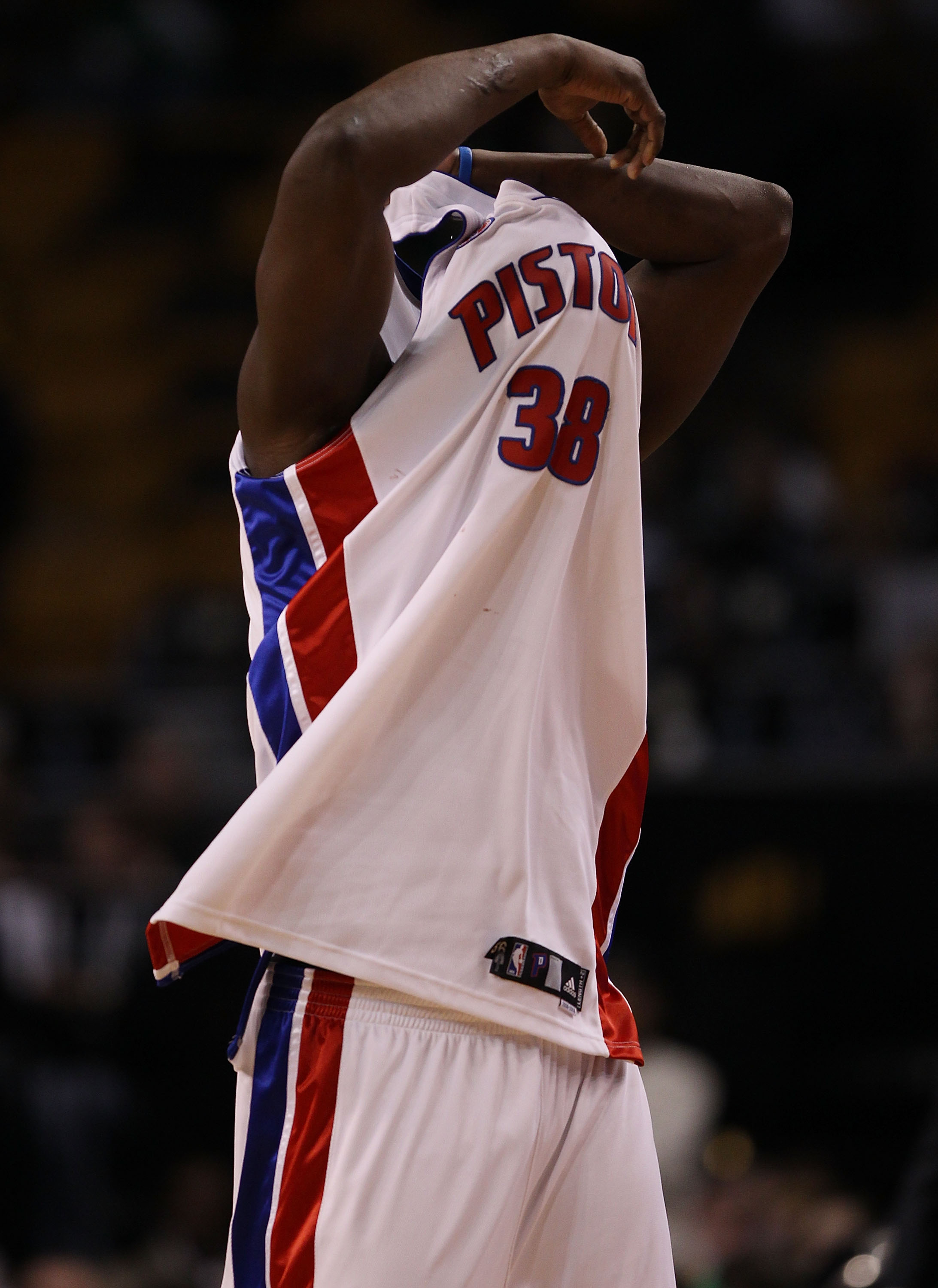 BOSTON - MARCH 15:  Kwame Brown #38 of the Detroit Pistons changes his jersey as instructed by a referee  in the second half against the Boston Celtics on March 15, 2010 at the TD Garden in Boston, Massachusetts. The Celtics defeated the Pistons 119-93.