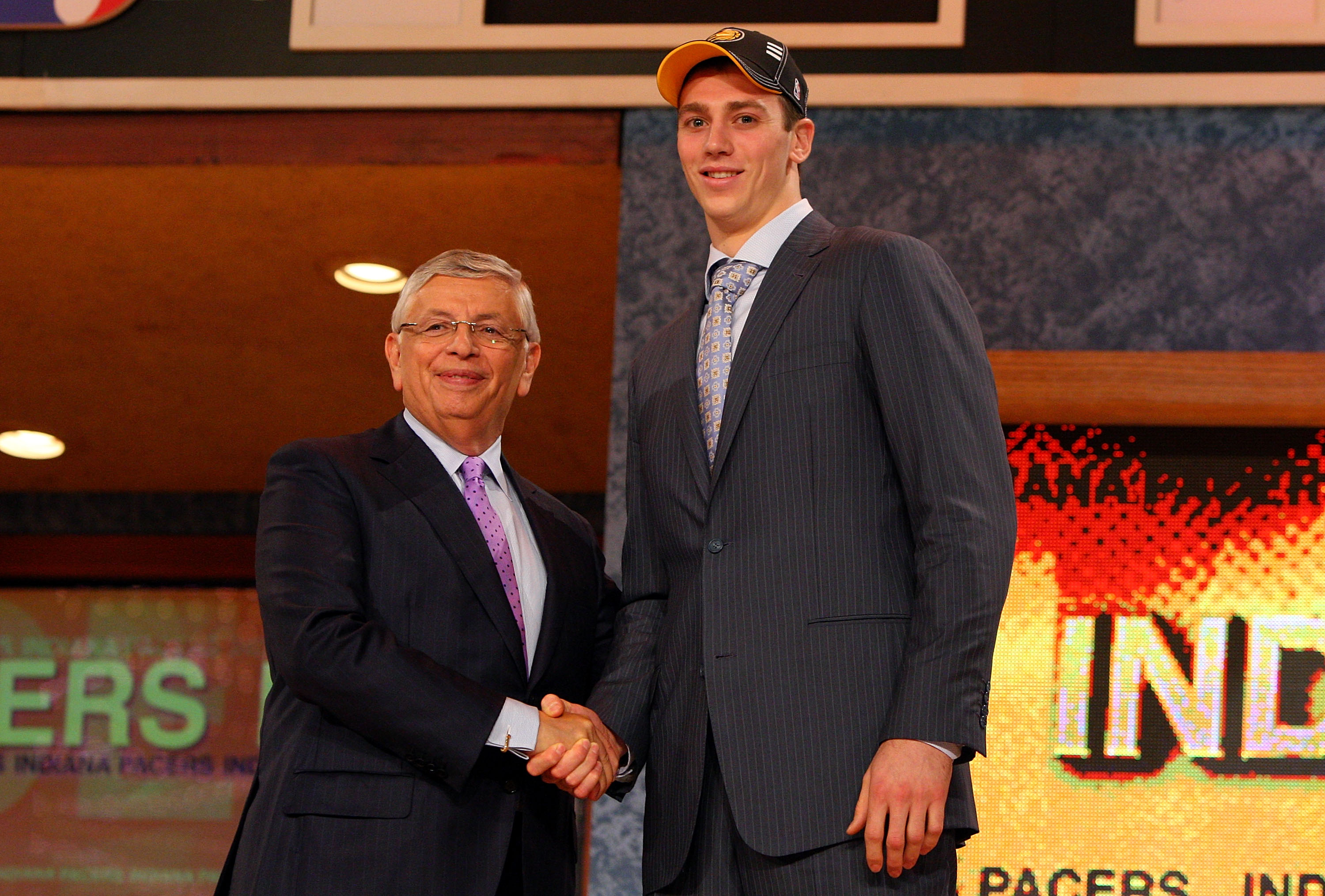 NEW YORK - JUNE 25:  NBA Commissioner David Stern poses for a photograph with the thirteenth overall draft pick by the Indiana Pacers,  Tyler Hansbrough during the 2009 NBA Draft at the Wamu Theatre at Madison Square Garden June 25, 2009 in New York City.