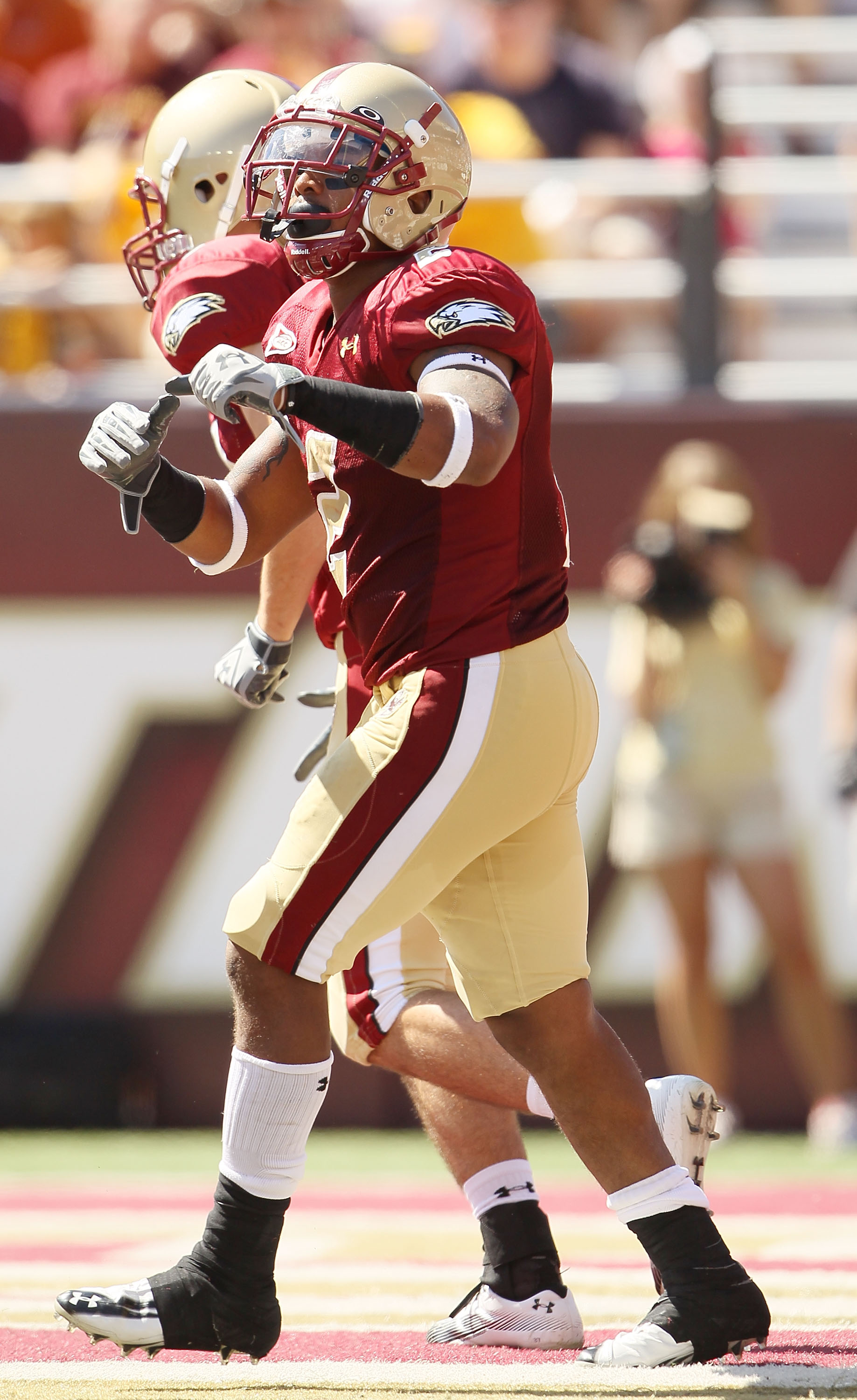 CHESTNUT HILL, MA - SEPTEMBER 04:  Montel Harris #2 of the Boston College Eagles celebrates his touchdown in the second quarter against the Weber State Wildcats on September 4, 2010 at Alumni Stadium in Chestnut Hill, Massachusetts.  (Photo by Elsa/Getty