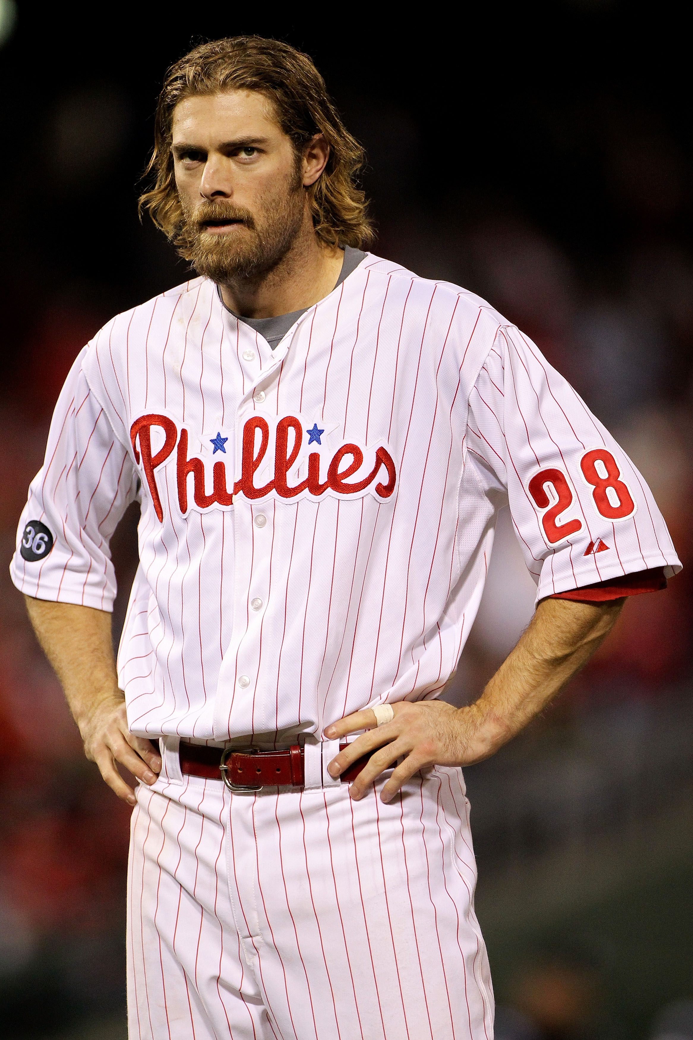PHILADELPHIA - OCTOBER 23:  Jayson Werth #28 of the Philadelphia Phillies looks on against the San Francisco Giants in Game Six of the NLCS during the 2010 MLB Playoffs at Citizens Bank Park on October 23, 2010 in Philadelphia, Pennsylvania.  (Photo by Do
