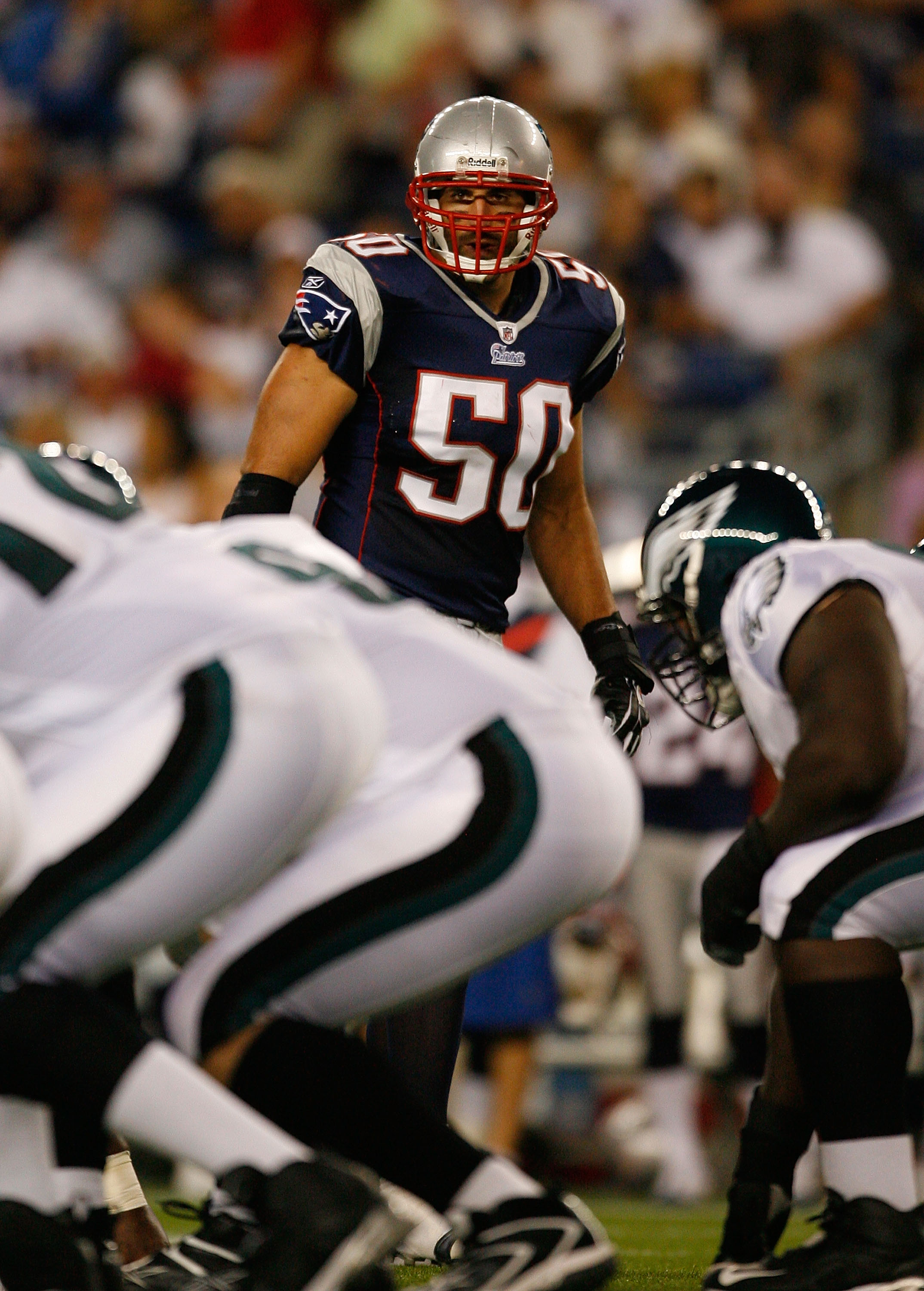 FOXBORO, MA - AUGUST 22: Mike Vrabel #50 of the New England Patriots defends against the offense of the Philadelphia Eagles during preseason action at Gillette Stadium on August 22, 2008 in Foxboro, Massachusetts. (Photo by Jim Rogash/Getty Images)