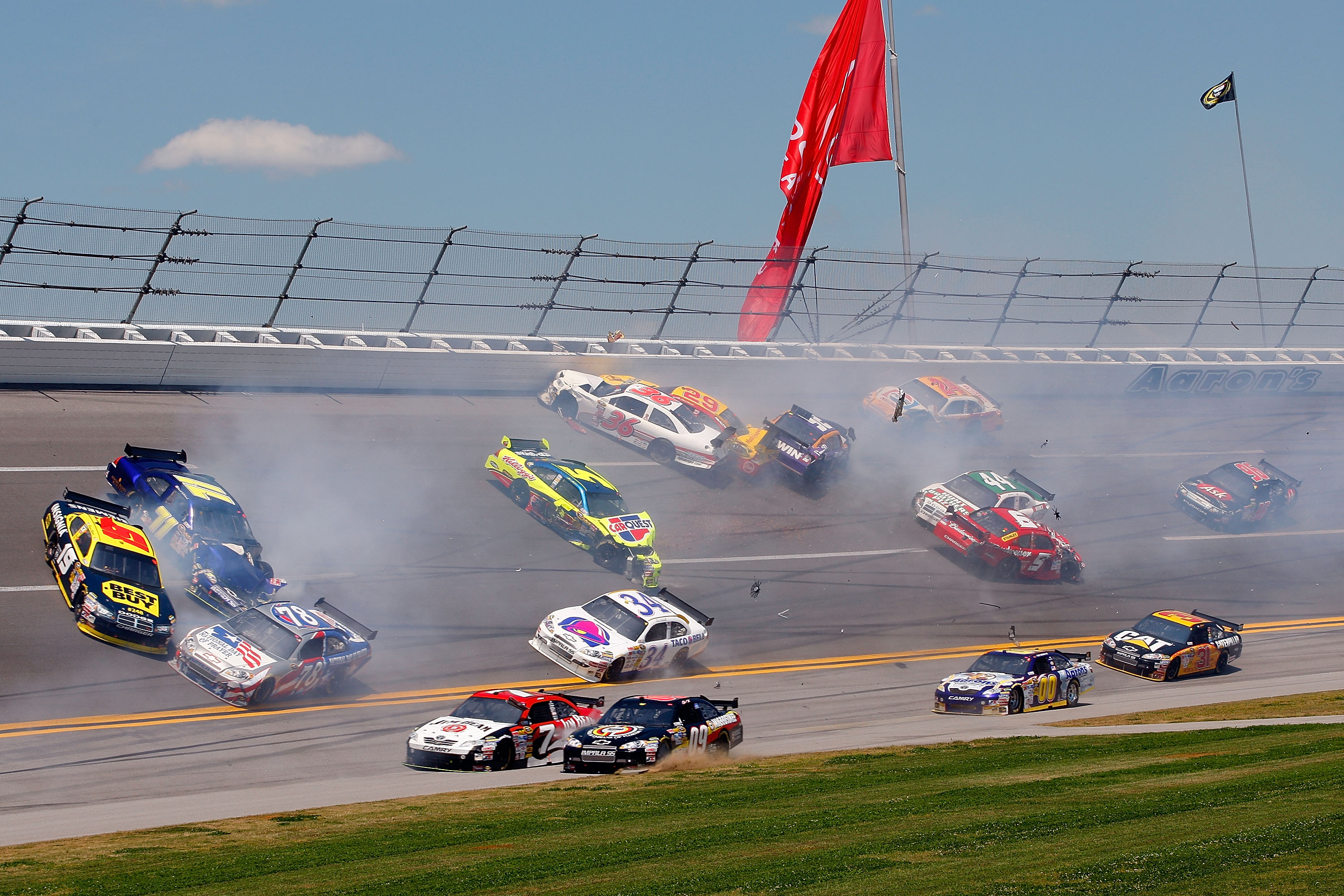 TALLADEGA, AL - APRIL 26:  A multi-car incident involving 16 cars in turn four during the NASCAR Sprint Cup Series Aaron's 499 at Talladega Superspeedway on April 26, 2009 in Talladega, Alabama.  (Photo by John Harrelson/Getty Images)