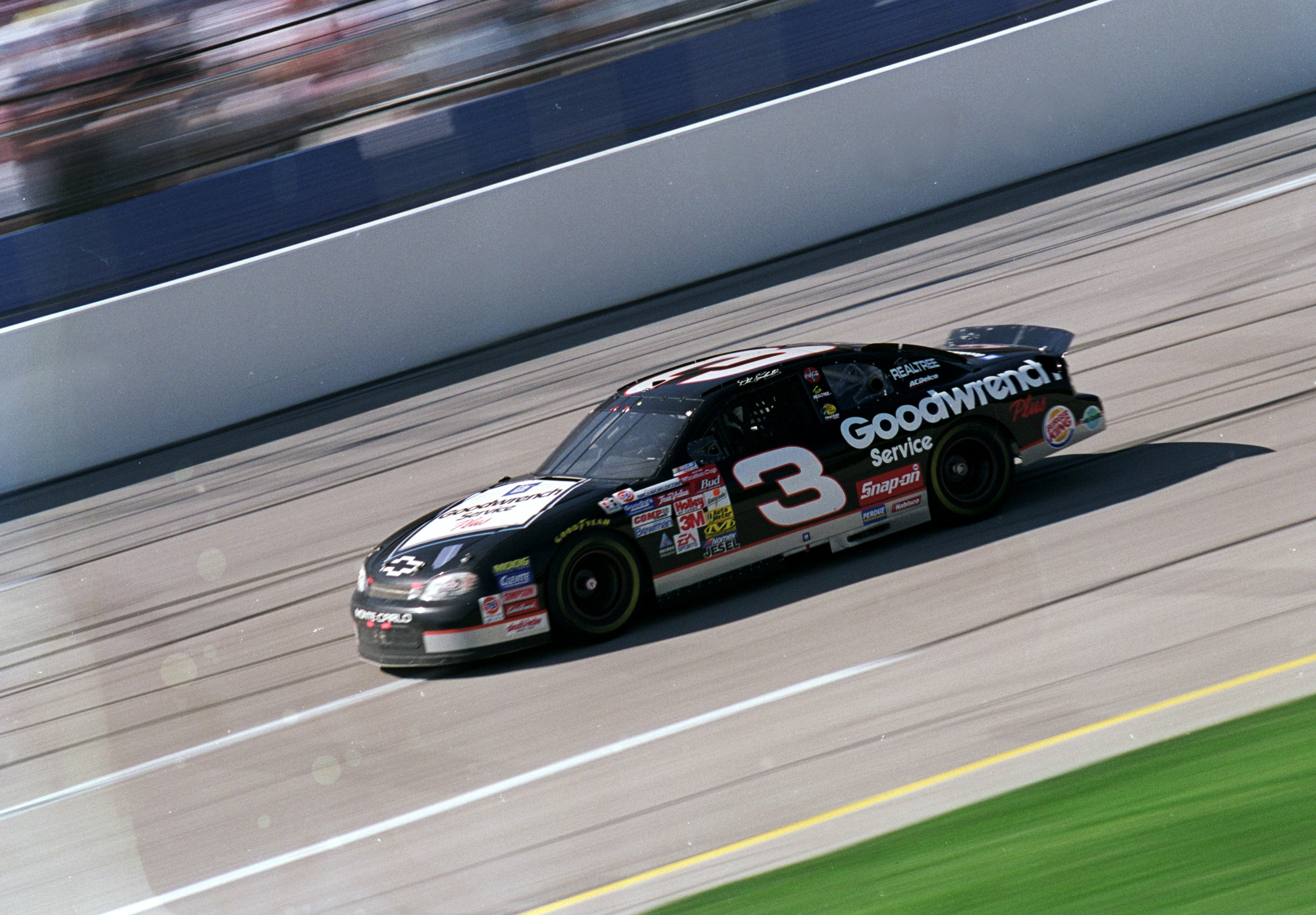 15 Oct 1999: Dale Earnhardt #3 speeds down the track during the Winston 500, part of the NASCAR Winston Cup Series at the Talladega Super Speedway in Talladega, Alabama. Mandatory Credit: Jon Ferrey  /Allsport